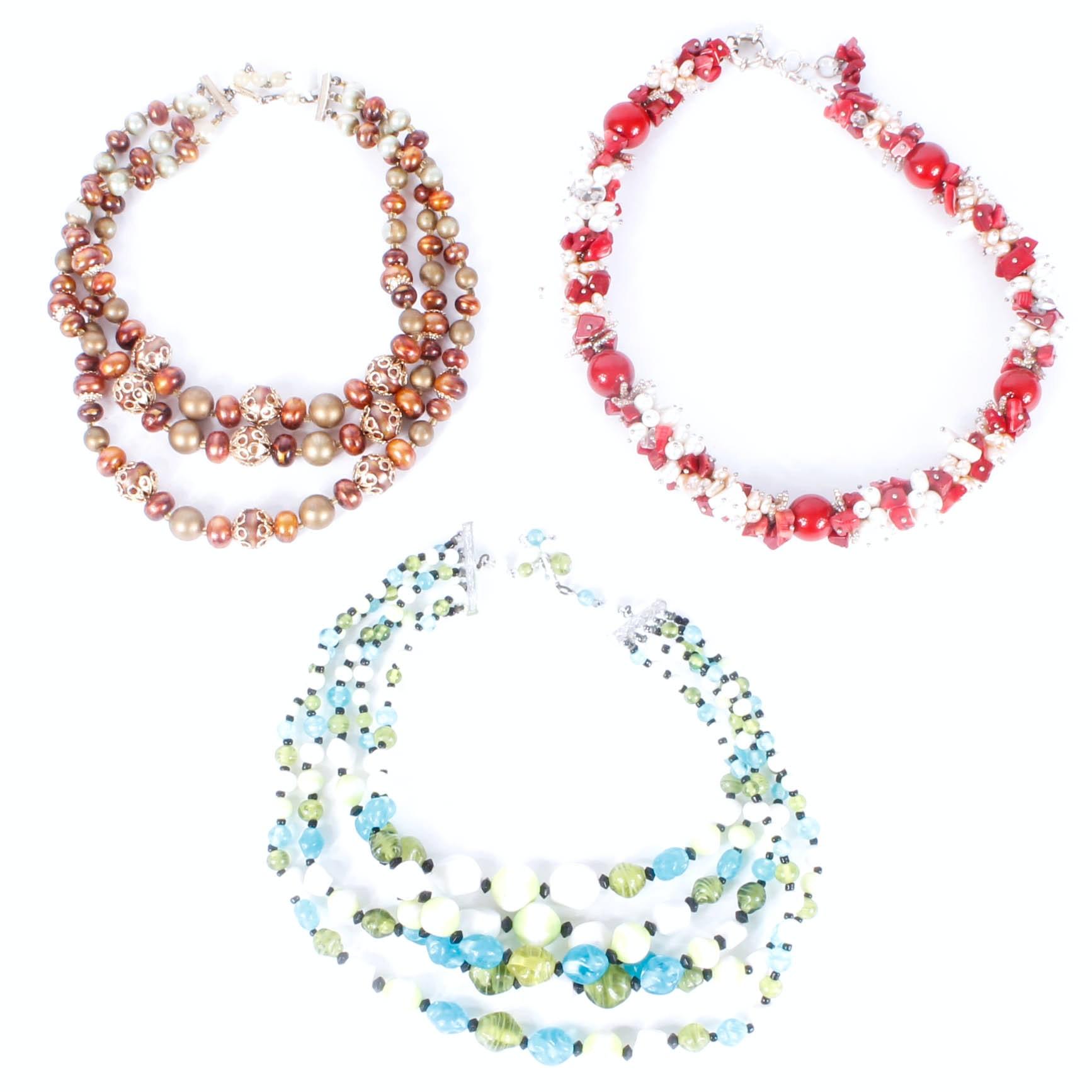 Costume Multi-Strand Beaded Necklaces