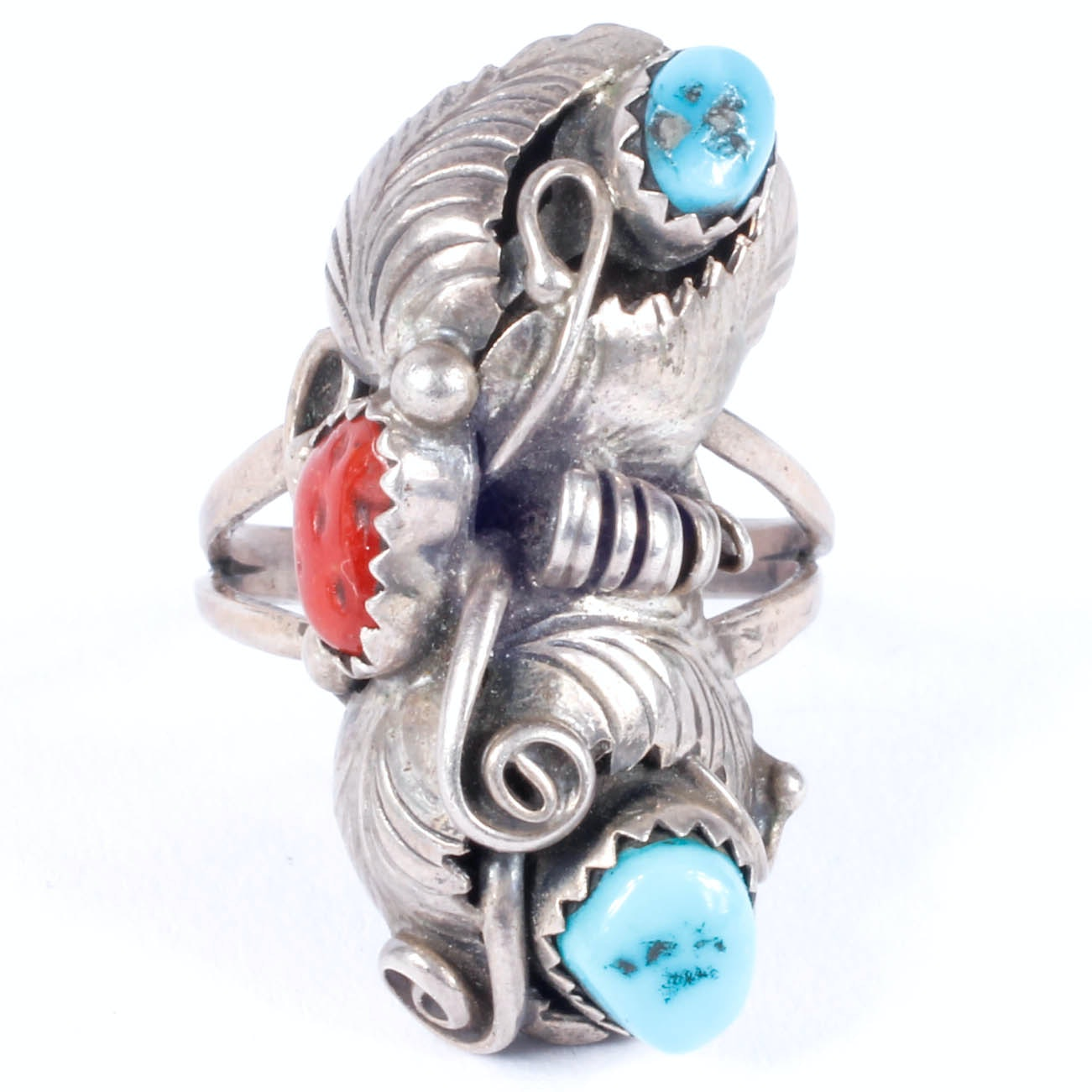 Ronnie Hurley Native American Navajo Sterling and Stone Ring