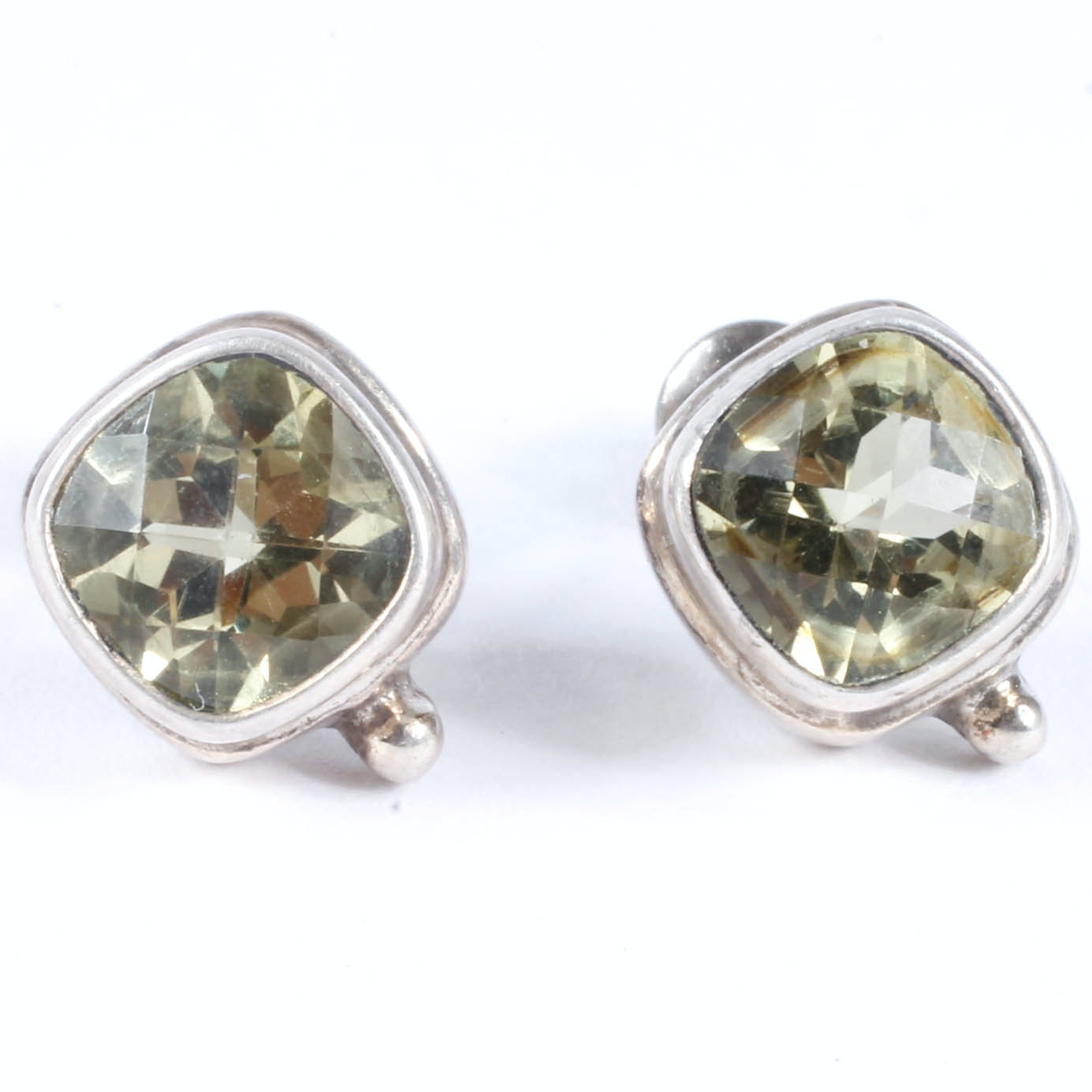 Sterling Silver Earrings with Green Quartz Stones