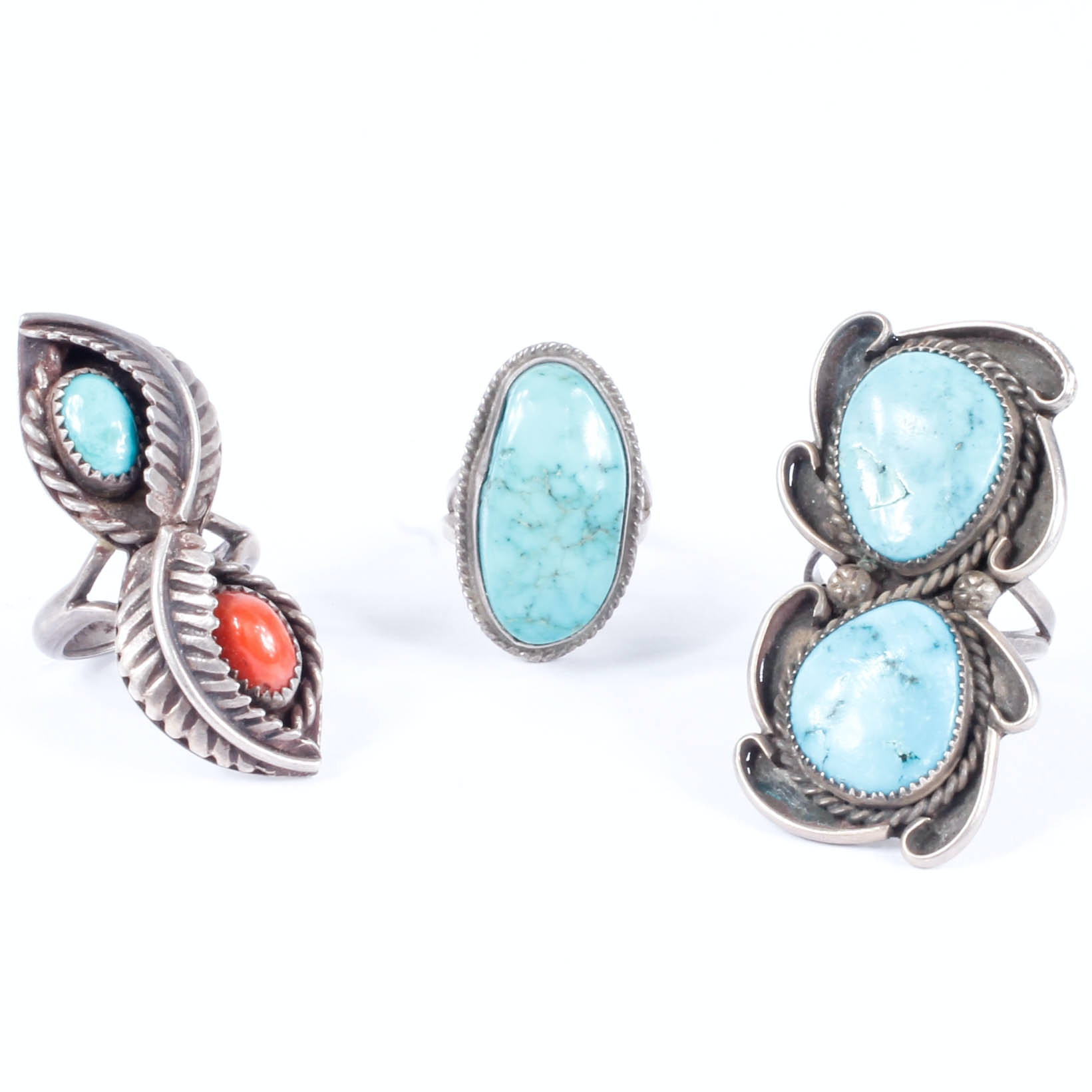 Native American-Style Sterling Silver, Turquoise and Coral Rings