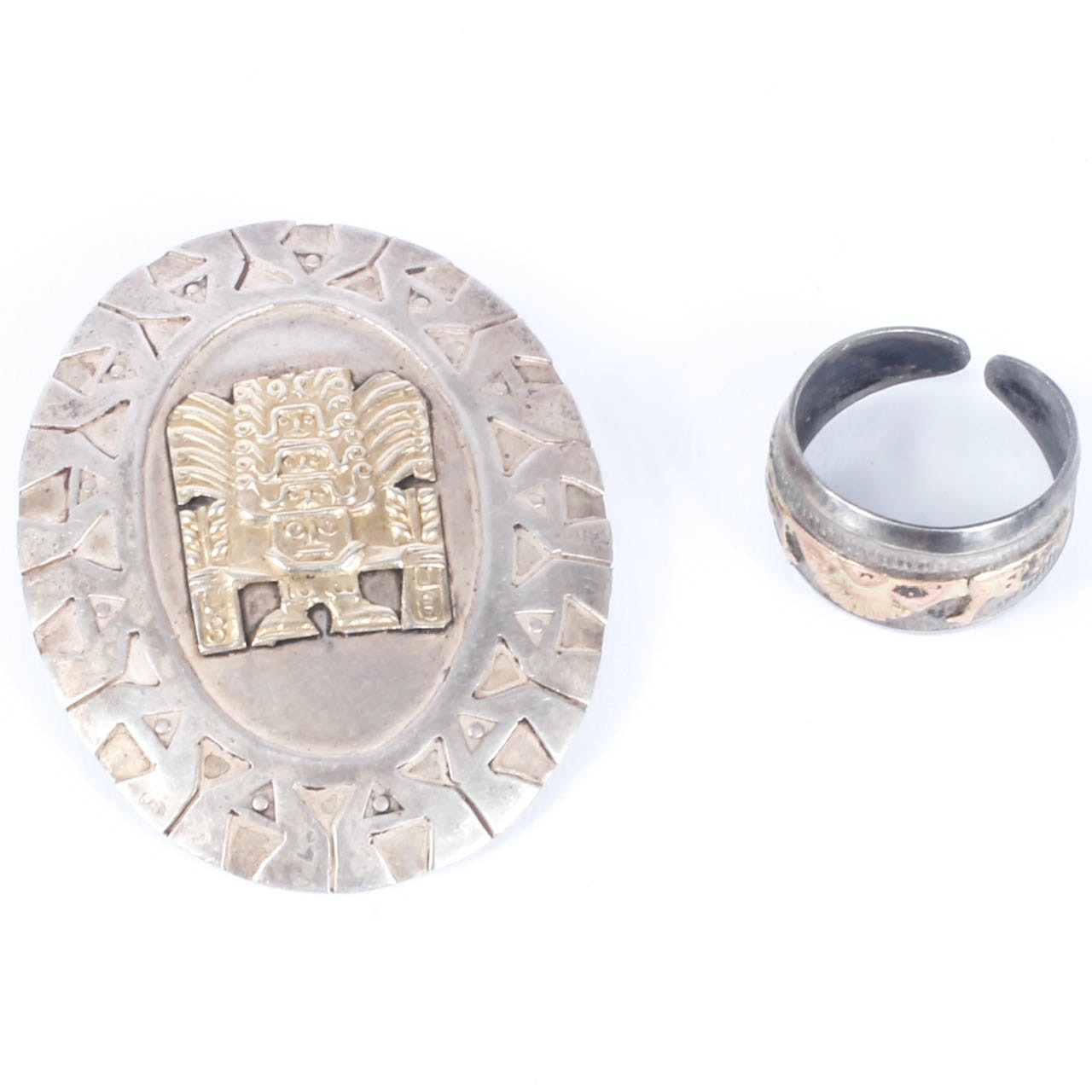 Sterling and 18K Yellow Gold Brooch and Ring