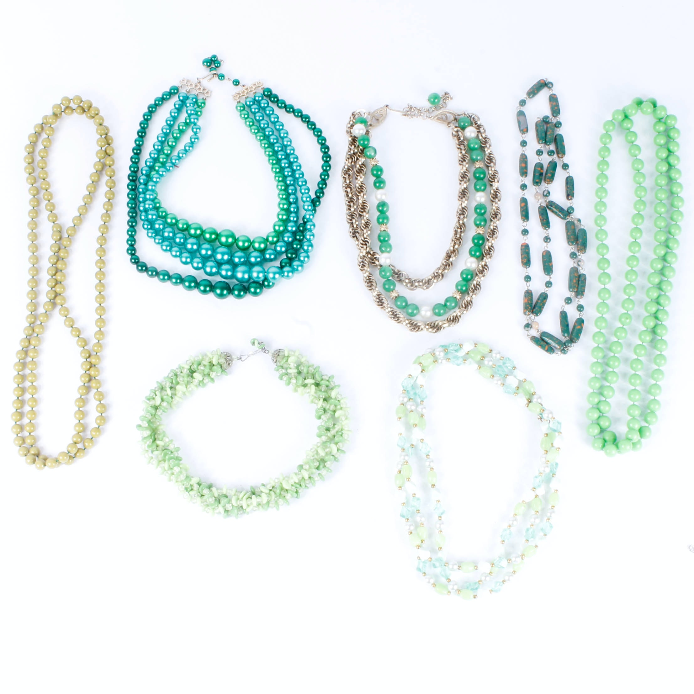 Group of Green Vintage Beaded Necklaces