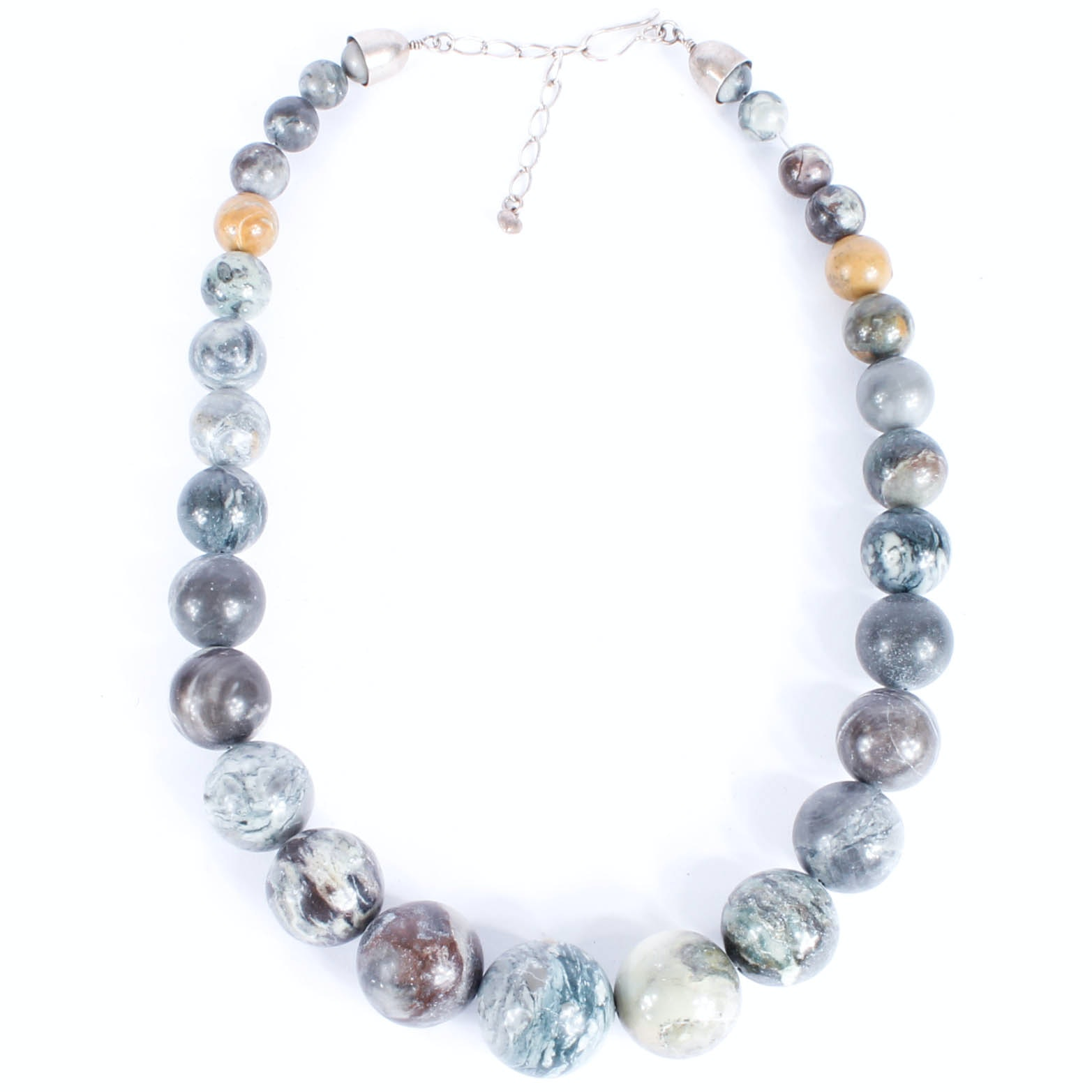 Sterling and Stone Beaded Necklace