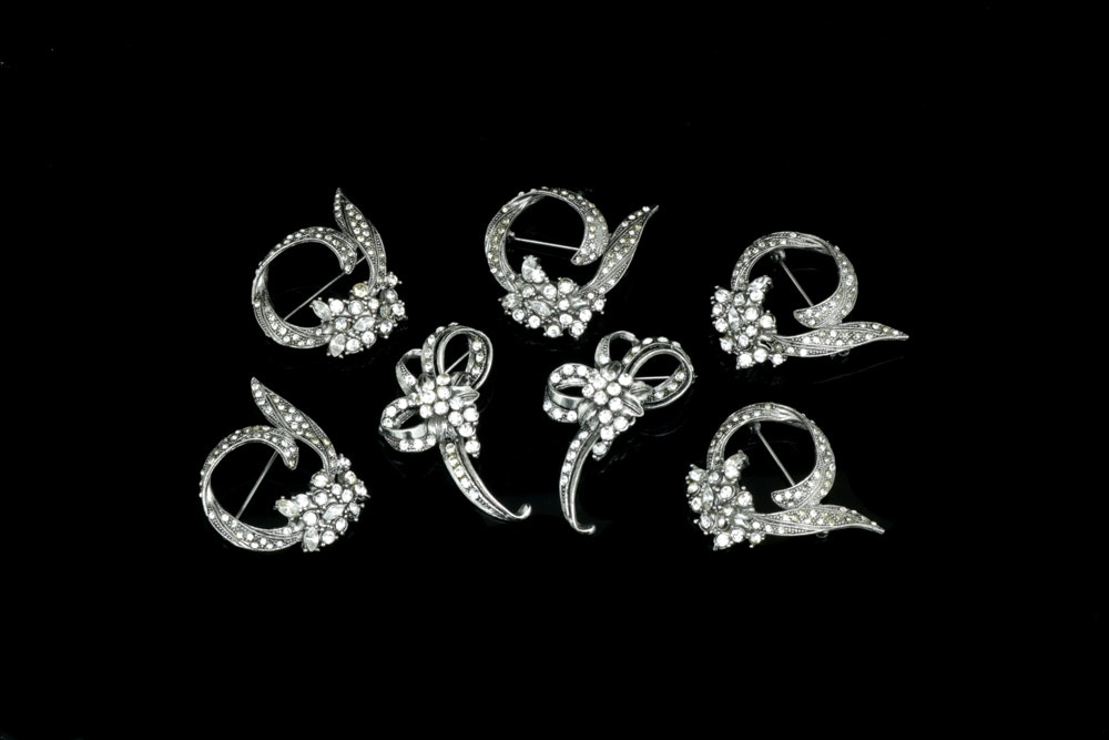Collection of Silver-Toned Rhinestone Brooches