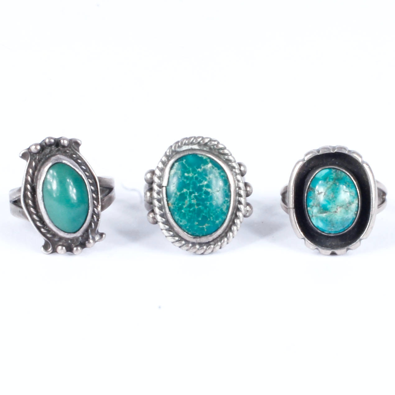 Silver Tone Rings with Green Stones