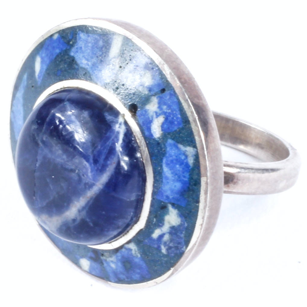 Mexican Sterling Silver and Sodalite Ring