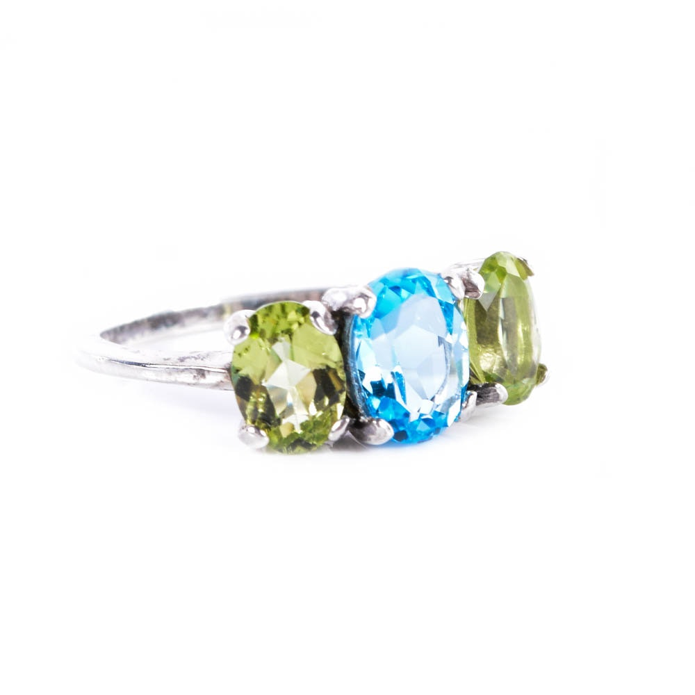 Sterling Silver, Blue Topaz, and Peridot Ring