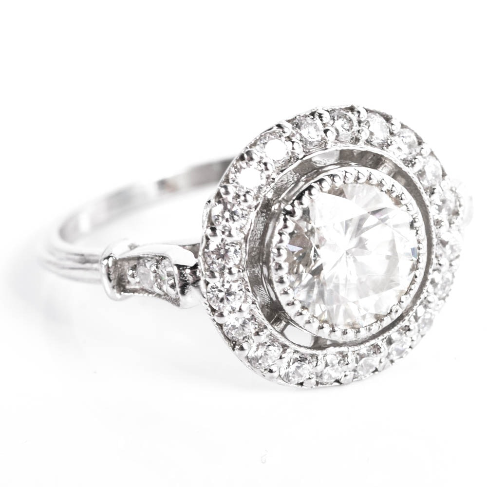 Sterling Silver, Moissanite, and Cubic Zirconia Halo Ring