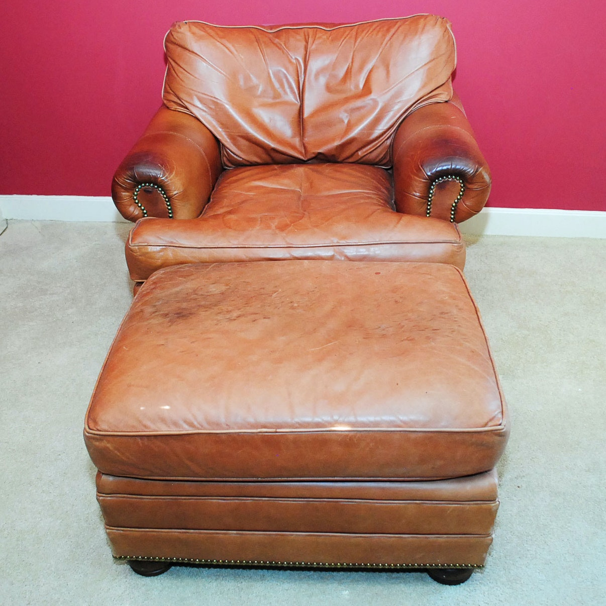 Vintage Brown Leather Armchair and Ottoman & ChairWorks Reclining Leather Lounge Chair With Ottoman : EBTH islam-shia.org