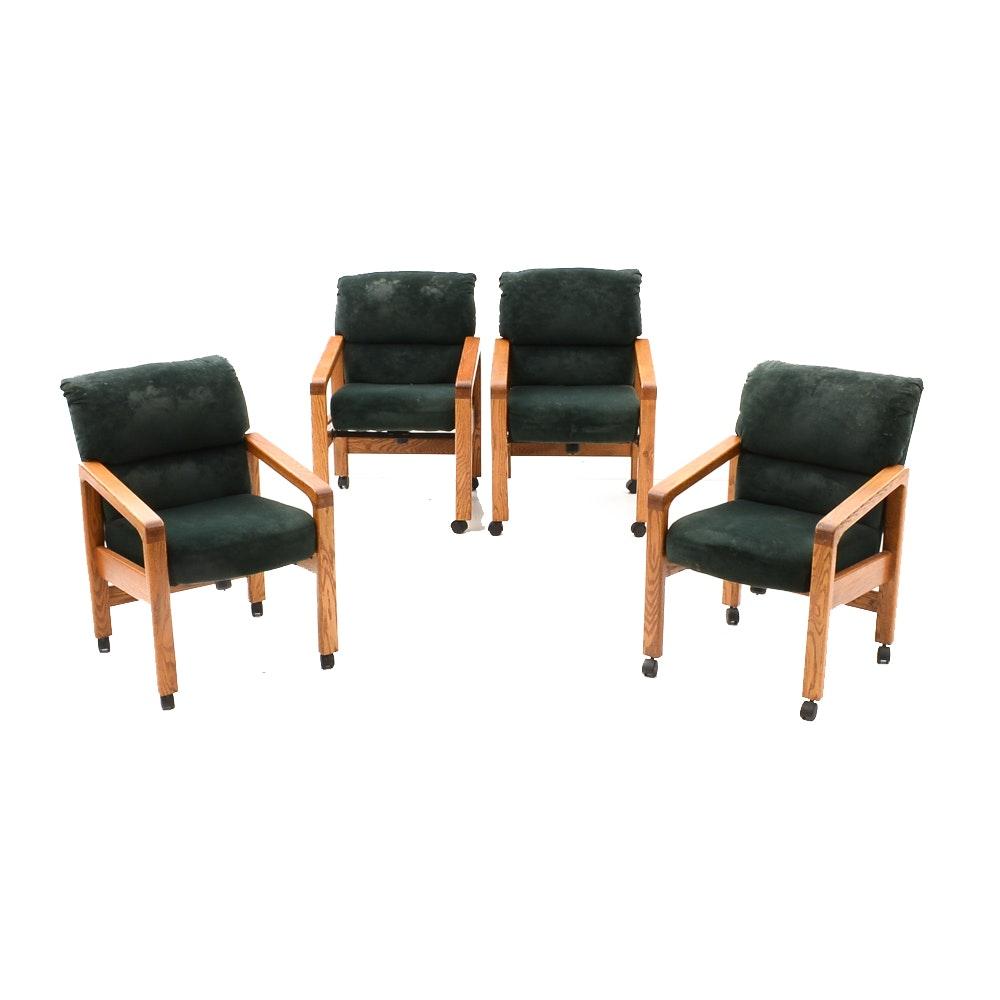 Four Oak Wood Armchairs