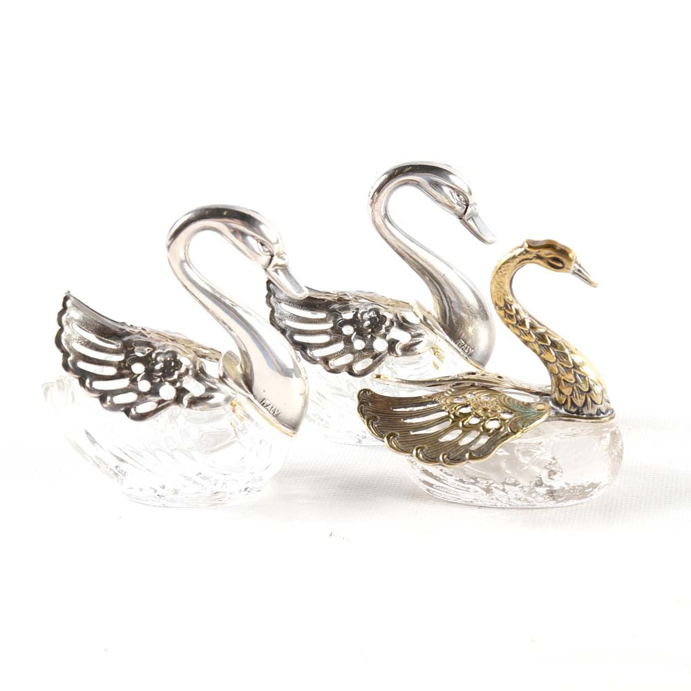Plated Silver and Glass Swan Salt Cellars