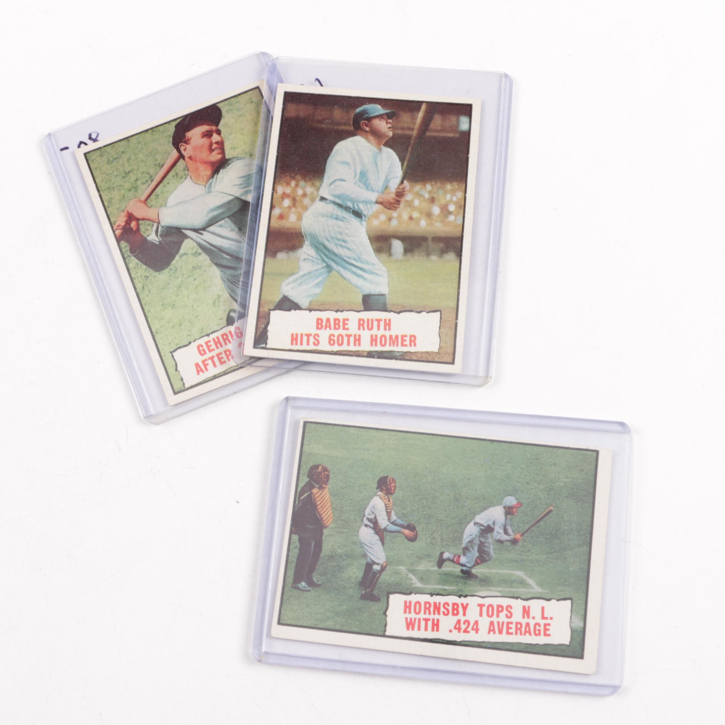 Three 1961 Baseball Cards Featuring Ruth, Hornsby, Gehrig