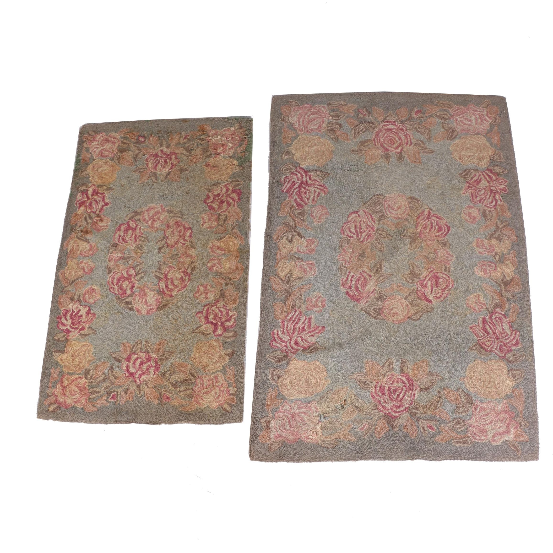 Pair of Vintage Hooked Floral Accent Rugs