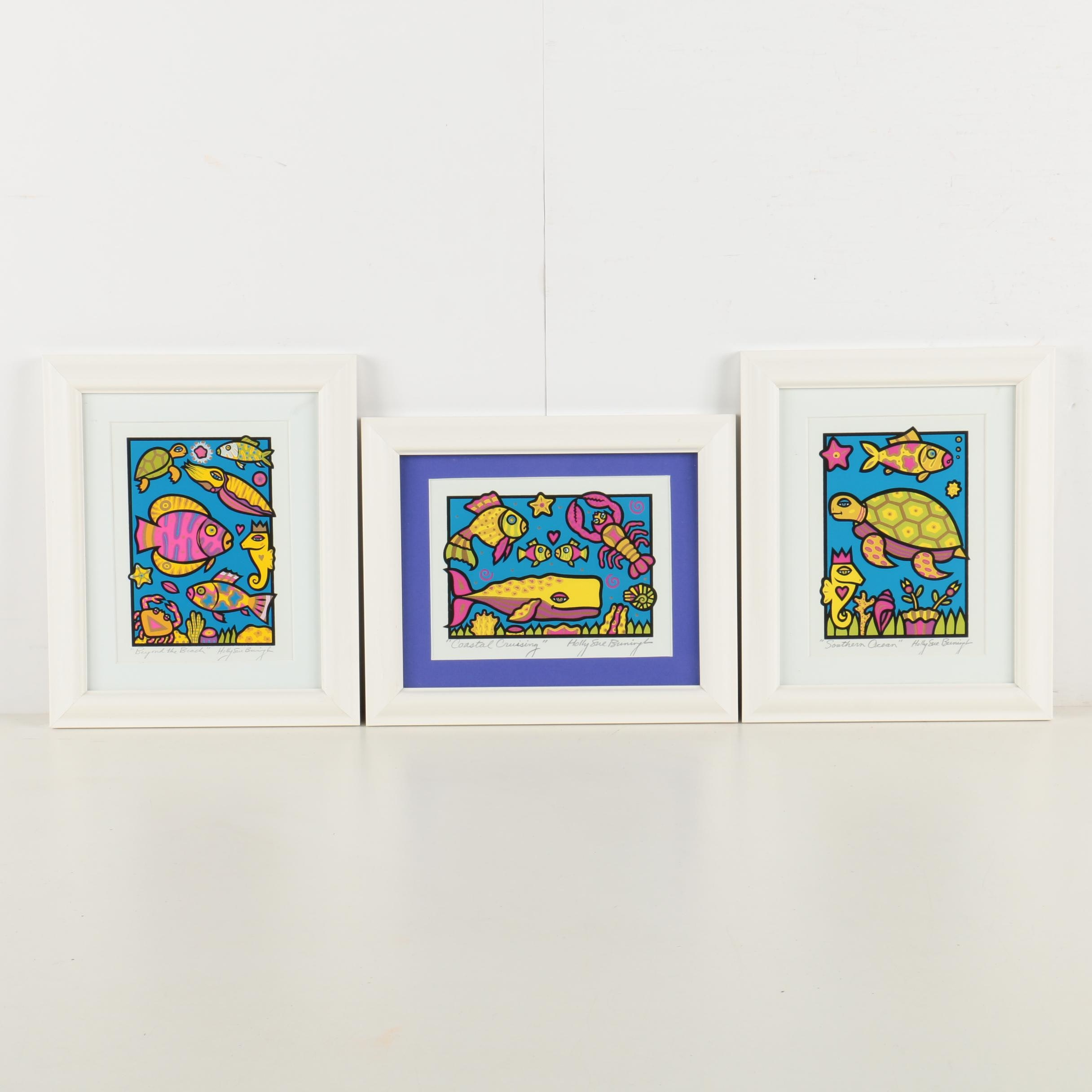 Three Holly Sue Foss Serigraph Prints of Undersea Creatures
