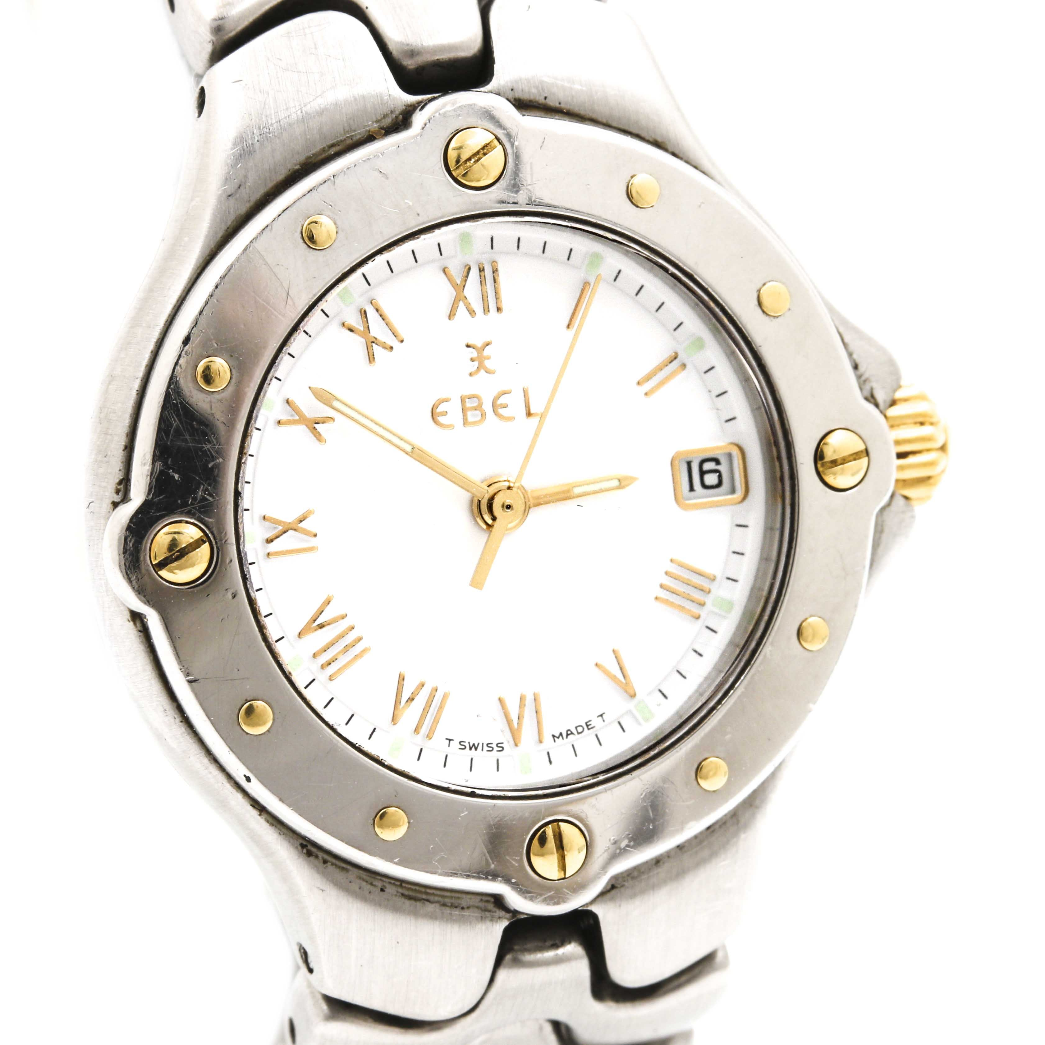 "Ebel ""Sportwave"" 18K Yellow Gold and Stainless Steel Analog Wristwatch"