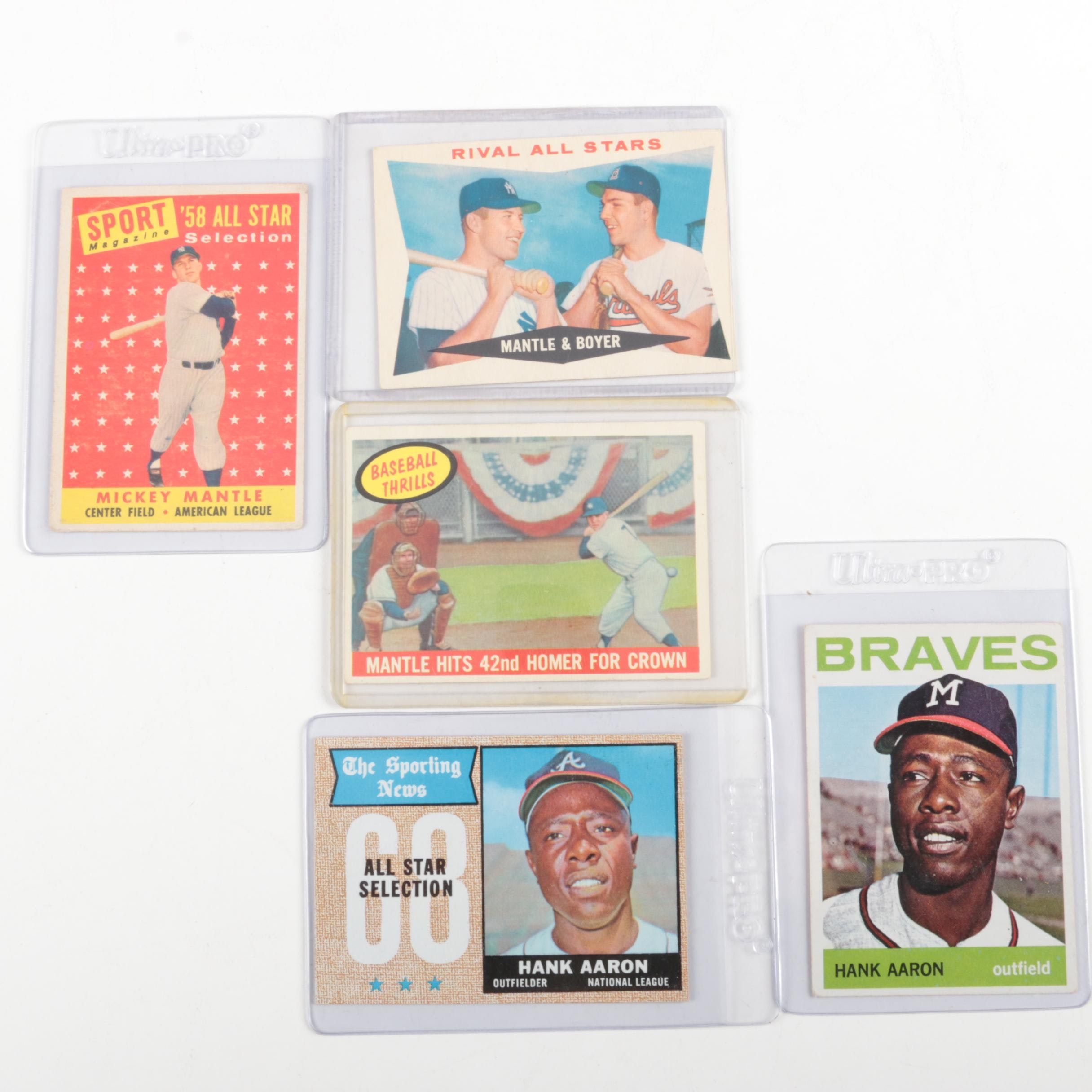 Five Baseball Cards from the 1960s Including Mantle and Aaron