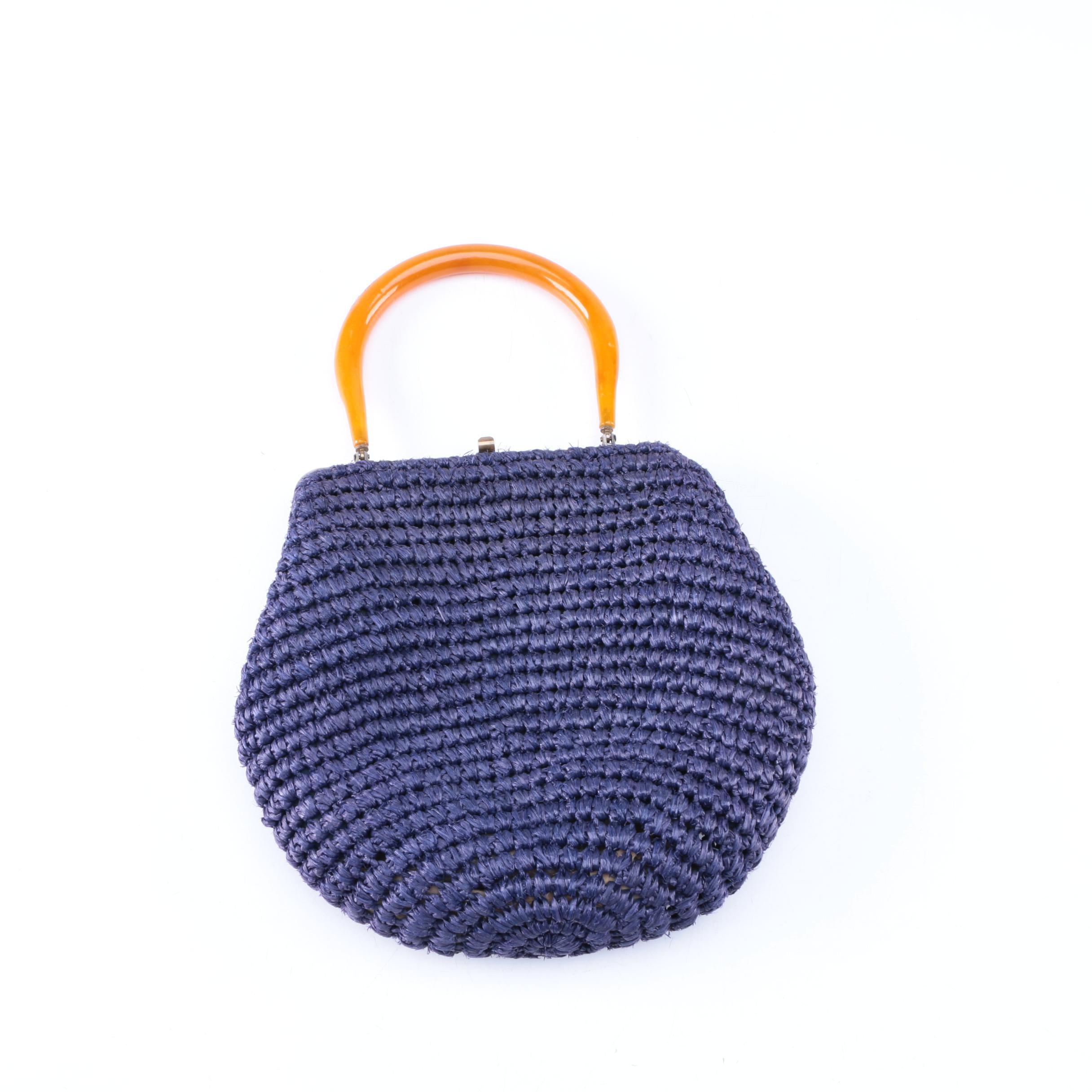 Blue Cellophane Woven Handbag