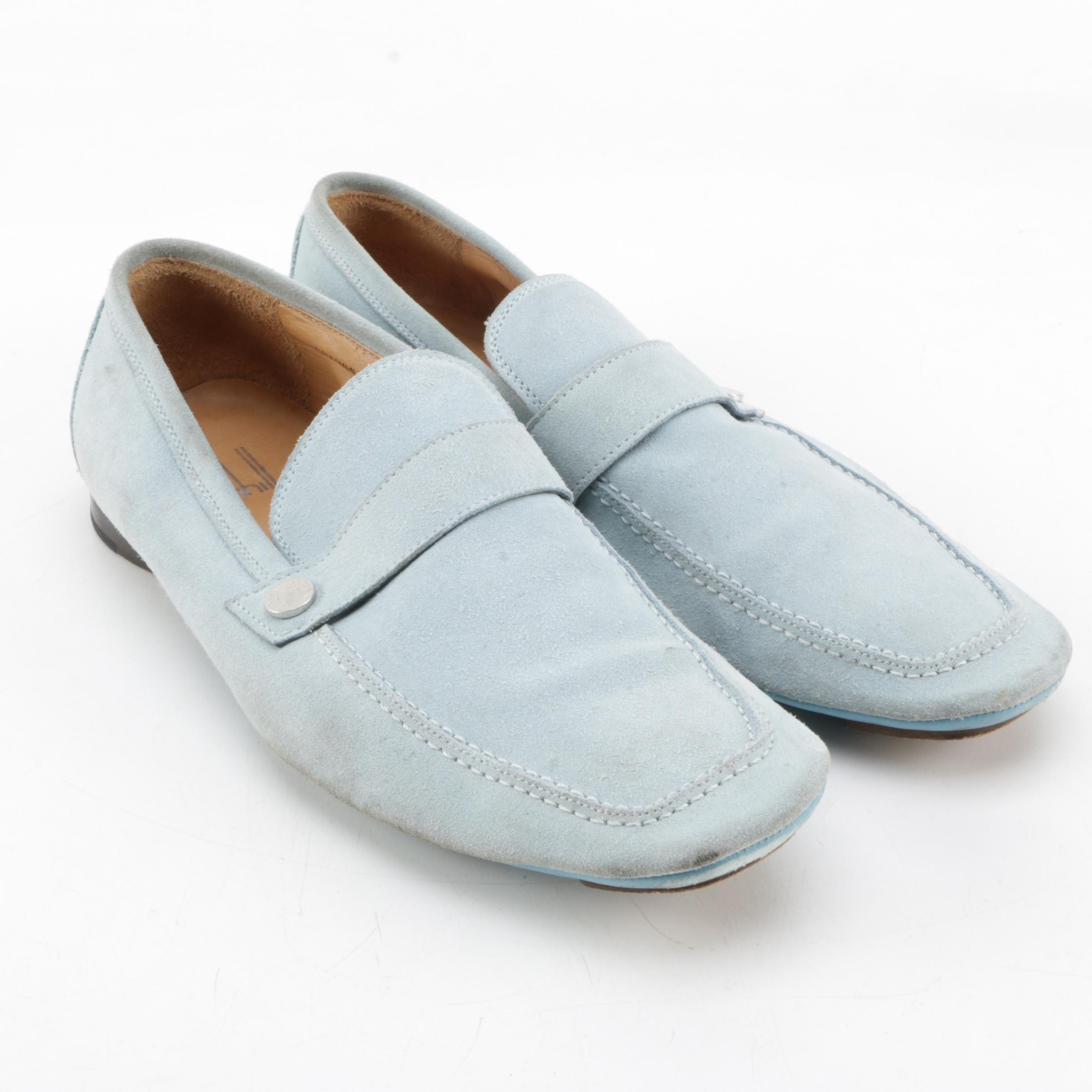 Men's Dunhill Light Blue Suede Driving Shoes