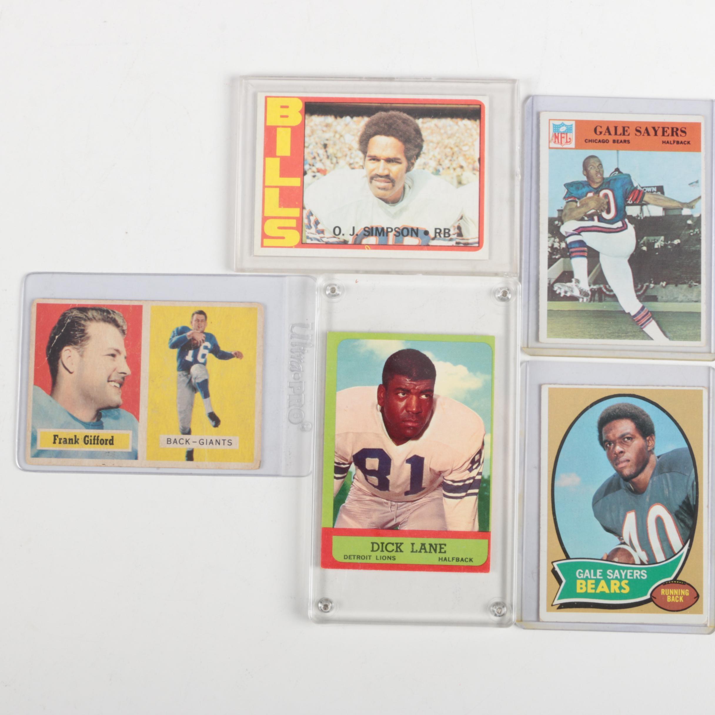 Assortment of Hall of Famer Football Cards