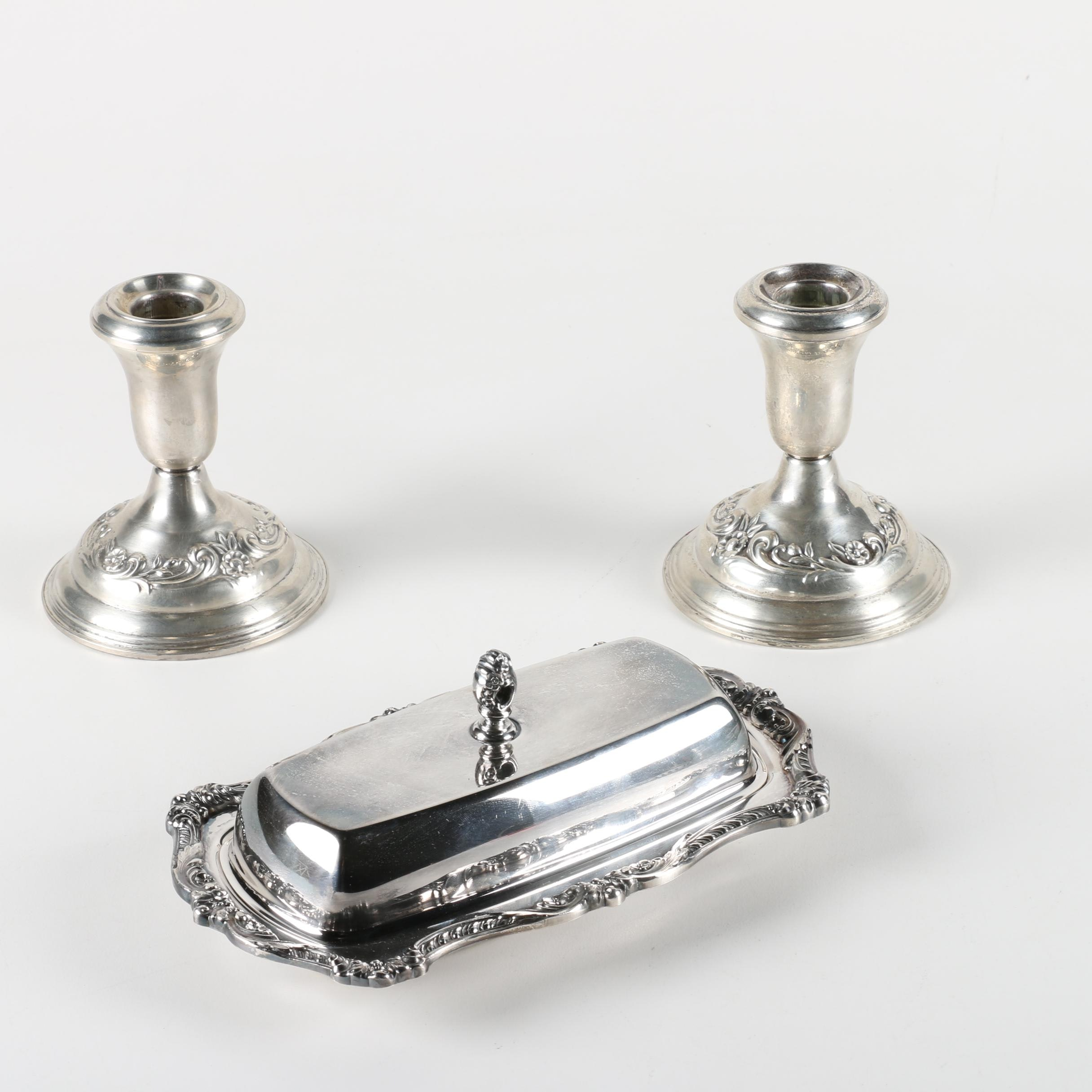 Reed & Barton Weighted Sterling Candleholders and Poole Silver Plate Butter Dish