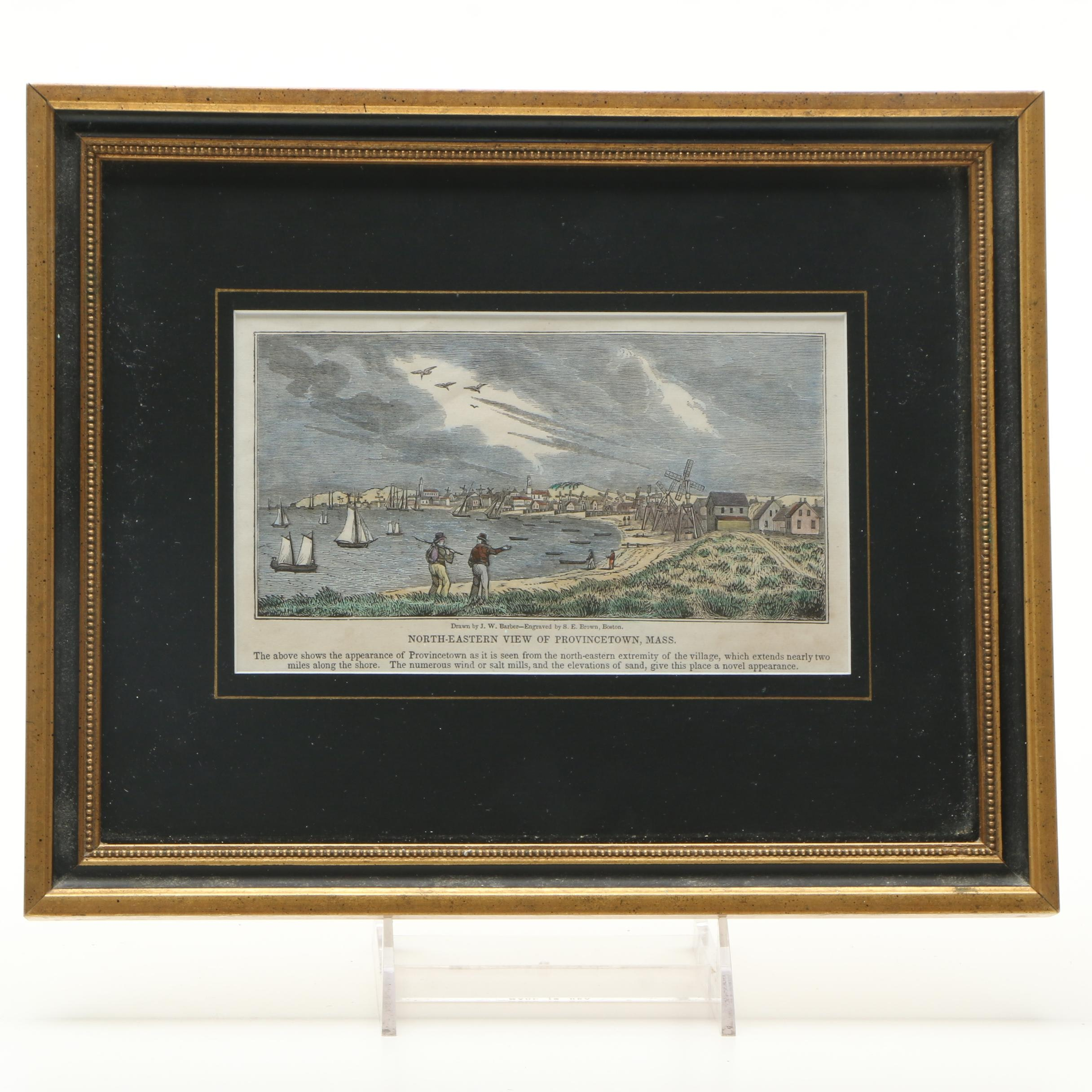EArly 19th Century Hand-Colored Wood Engraving on Paper of Provincetown, MA