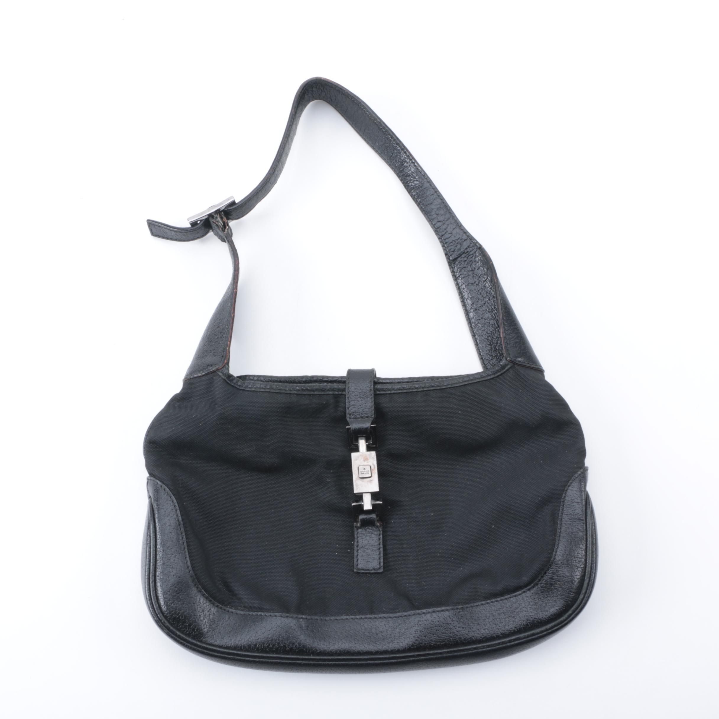 Gucci Black Nylon and Leather Handbag