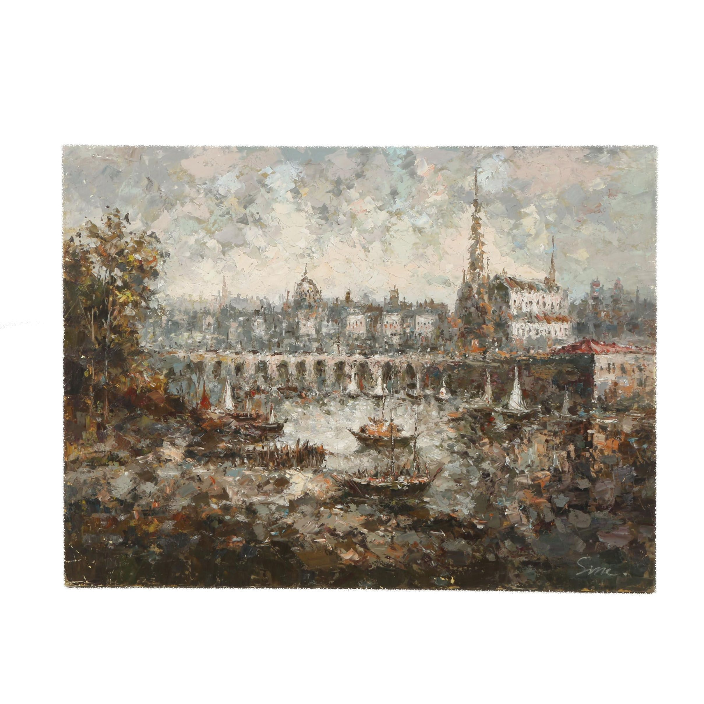 Sine Oil Painting on Canvas of a Harbor Scene