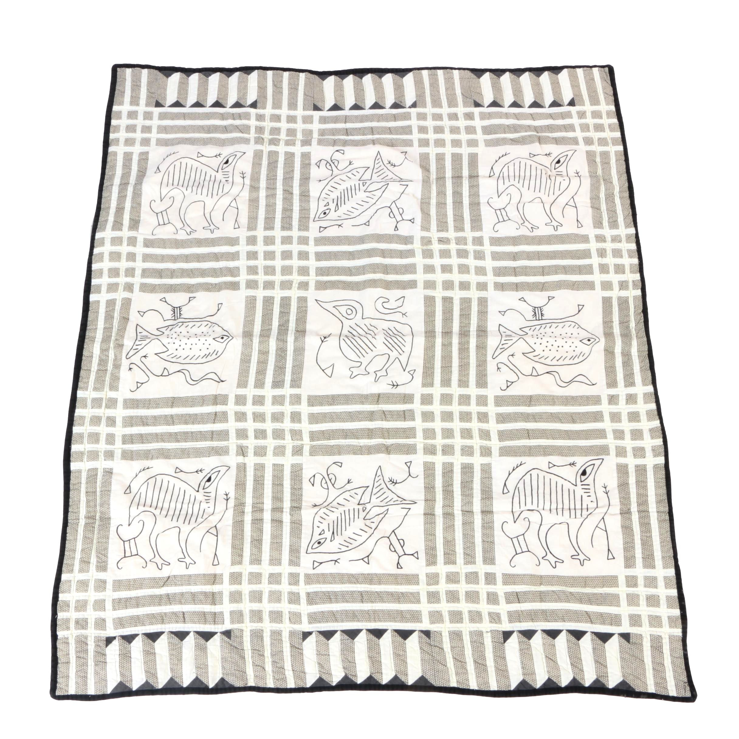Hand Quilted Black and White Hieroglyphic Quilt