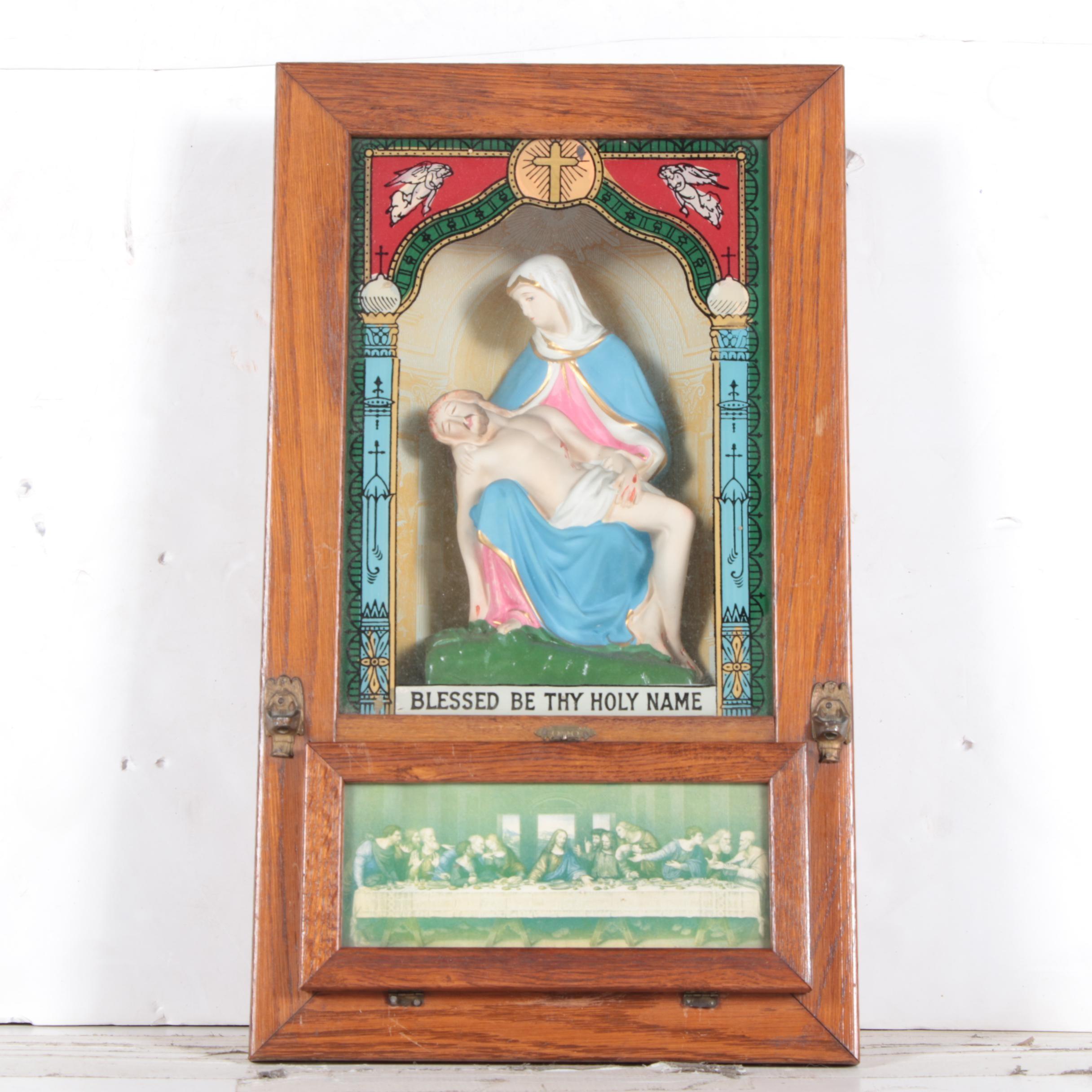 Vintage Viaticum/Last Rites Cabinet/Sick Call Set