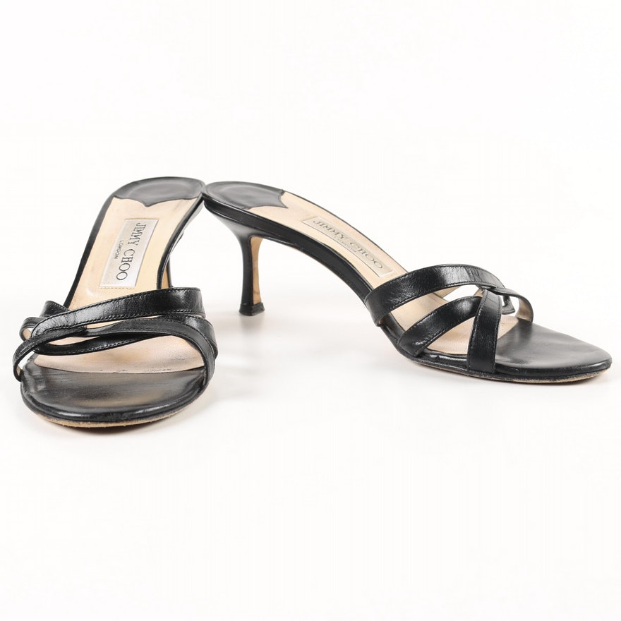 75f02b1a361 Women s Jimmy Choo Black Leather Slide Heels   EBTH