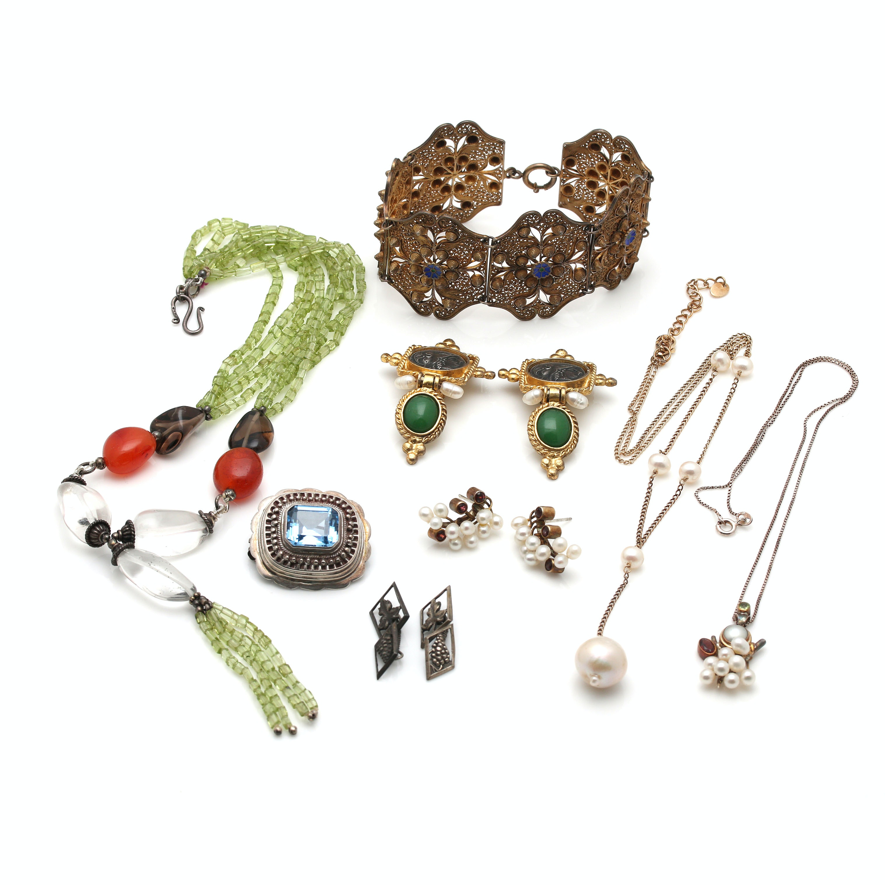 Assortment of Sterling Silver Jewelry including an 800 Silver Converter Brooch
