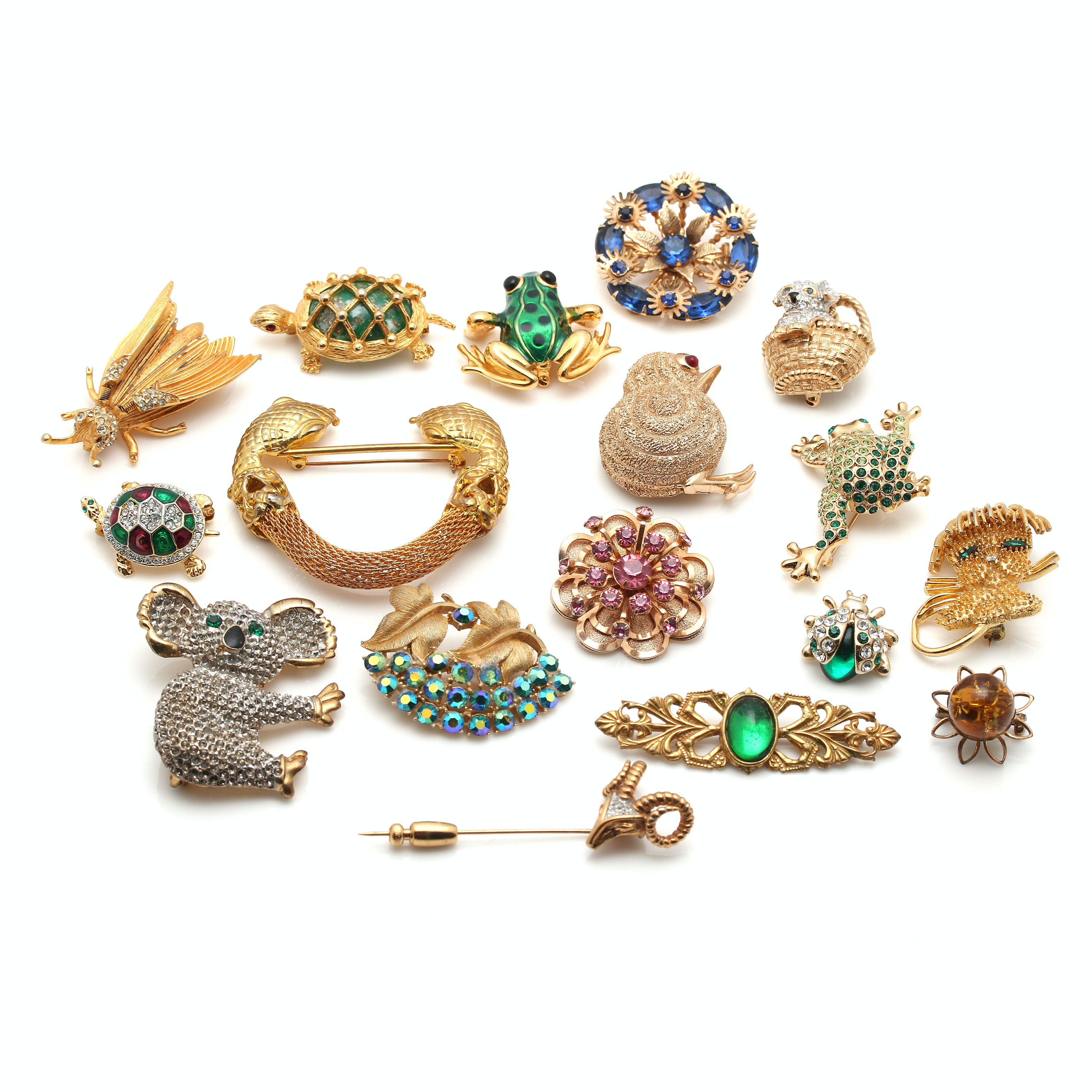 Vintage Costume Brooches and Stick Pin Featuring Miriam Haskell and Trifari