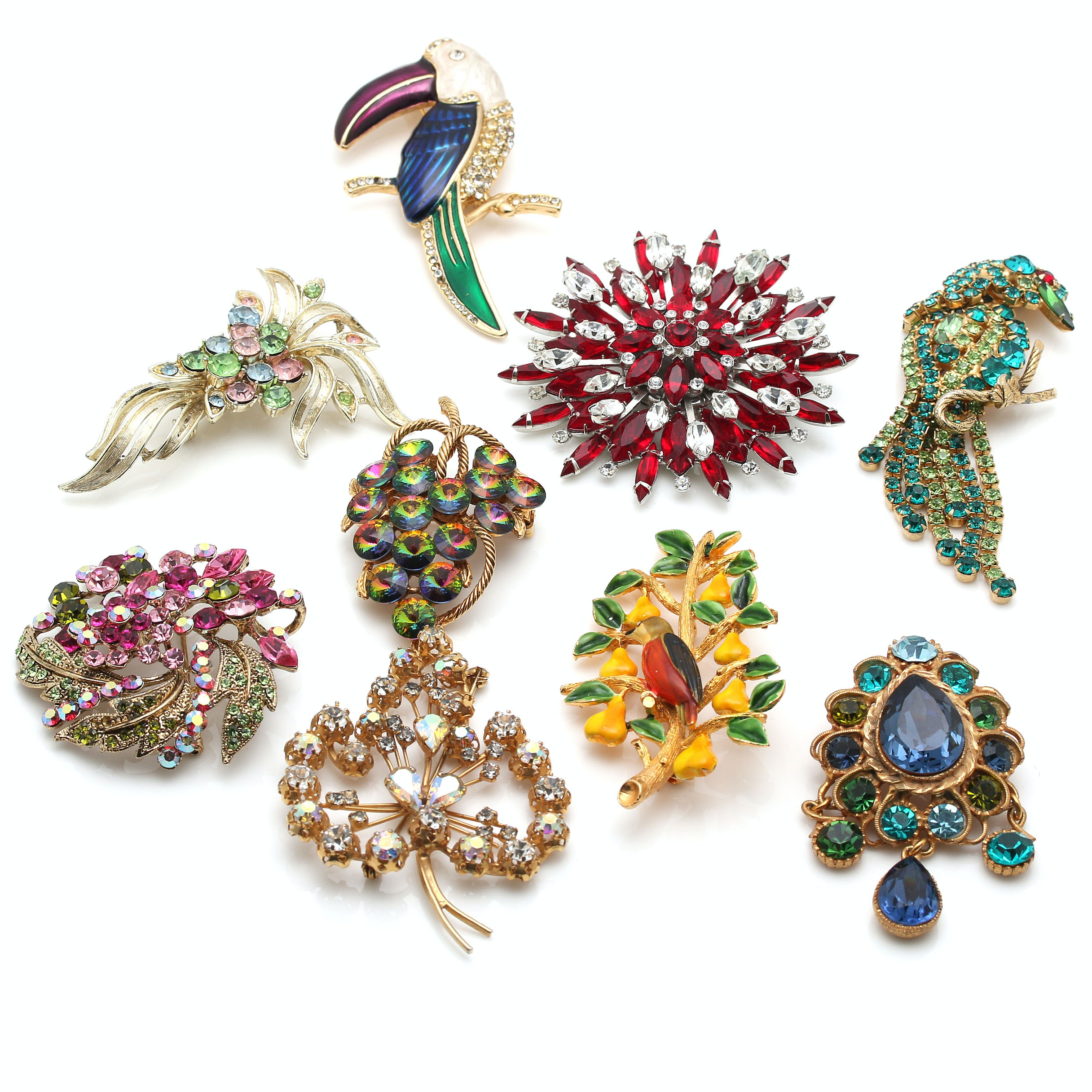 Collection of Vintage Costume Brooches Featuring Coro and Cadoro