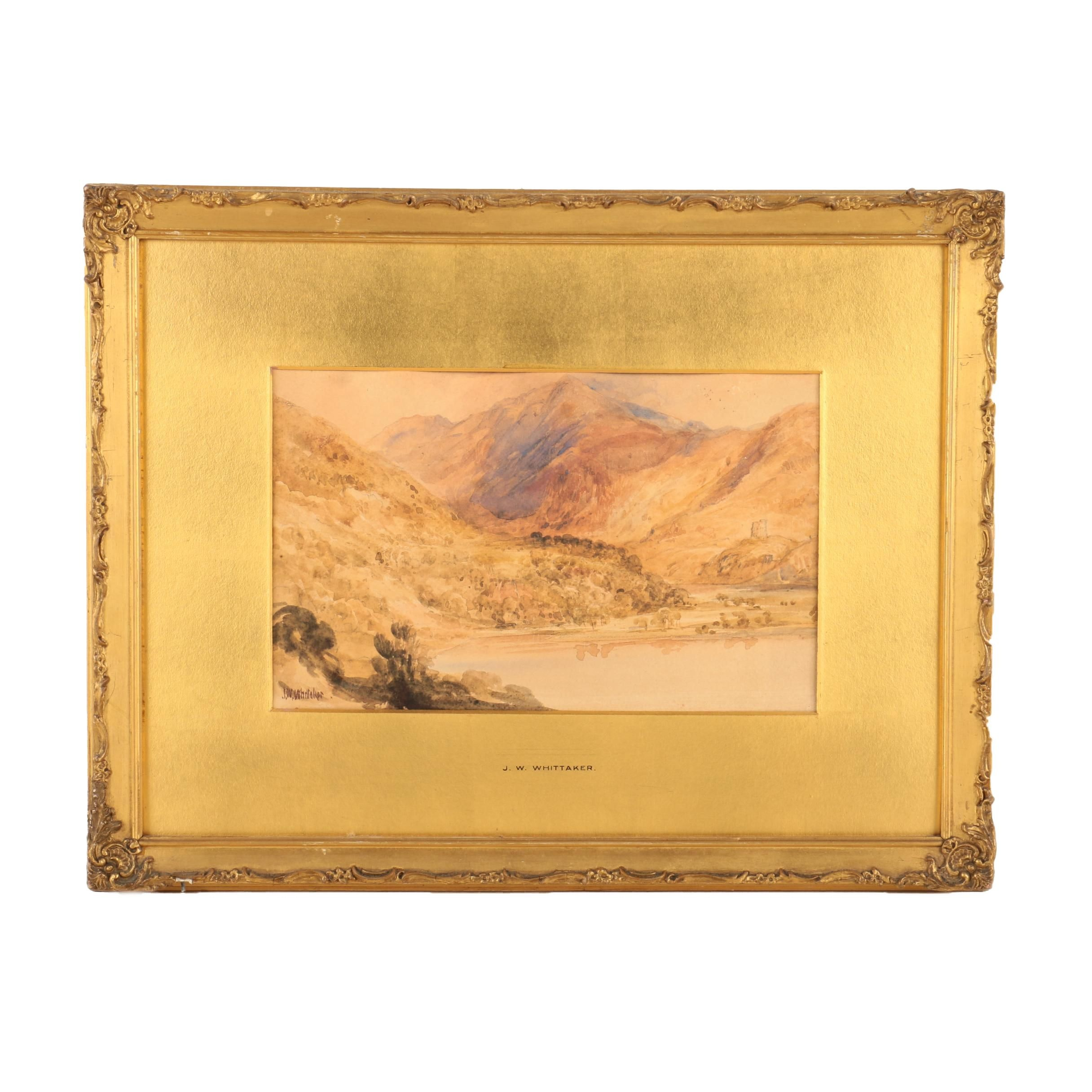 James William Whittaker 19th-Century Watercolor on Paper of a Valley Vista