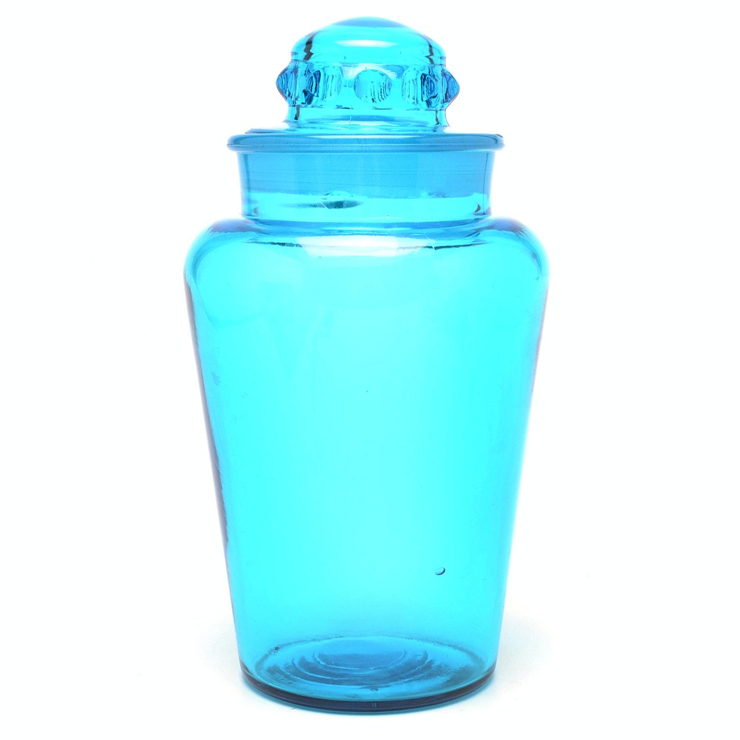 Vintage Blue Glass Lidded Jar