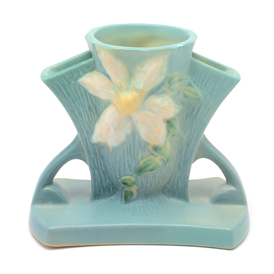 "Roseville Pottery Vase in ""Clematis"" Pattern"