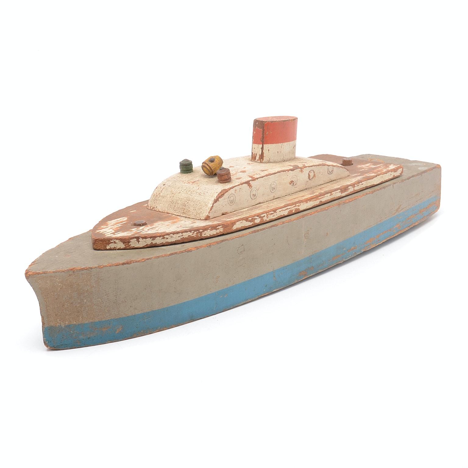 Vintage Folk Art Toy Wood Boat