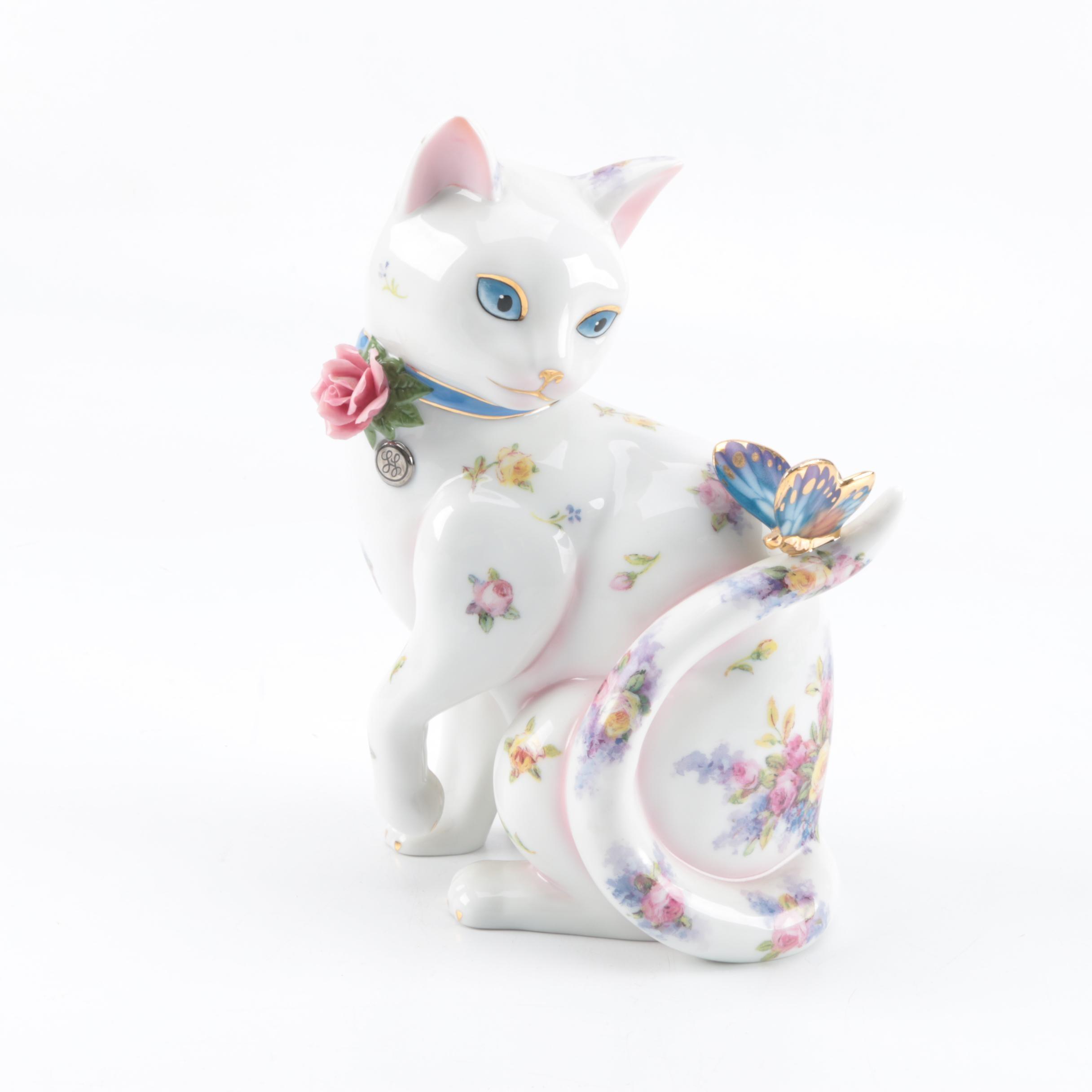 "Ceramic Cat ""Fascination"" Figurine By The Danbury Mint"