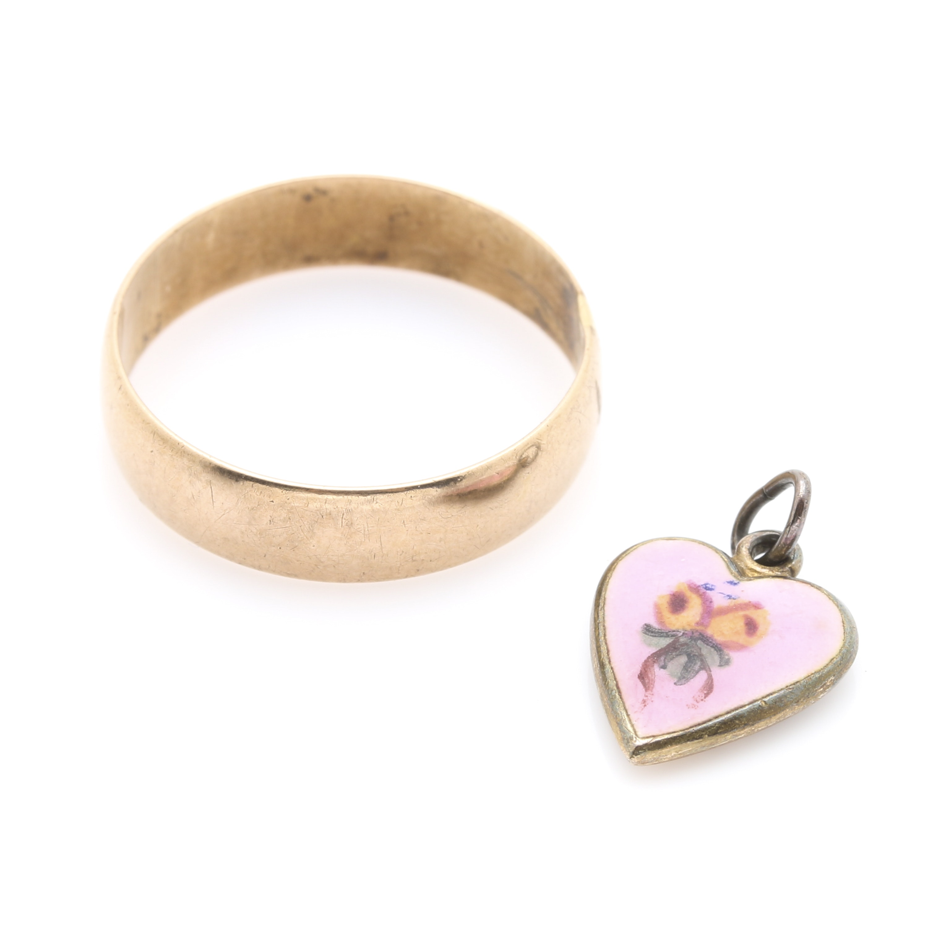 10K Yellow Gold Ring Band and Heart Charm