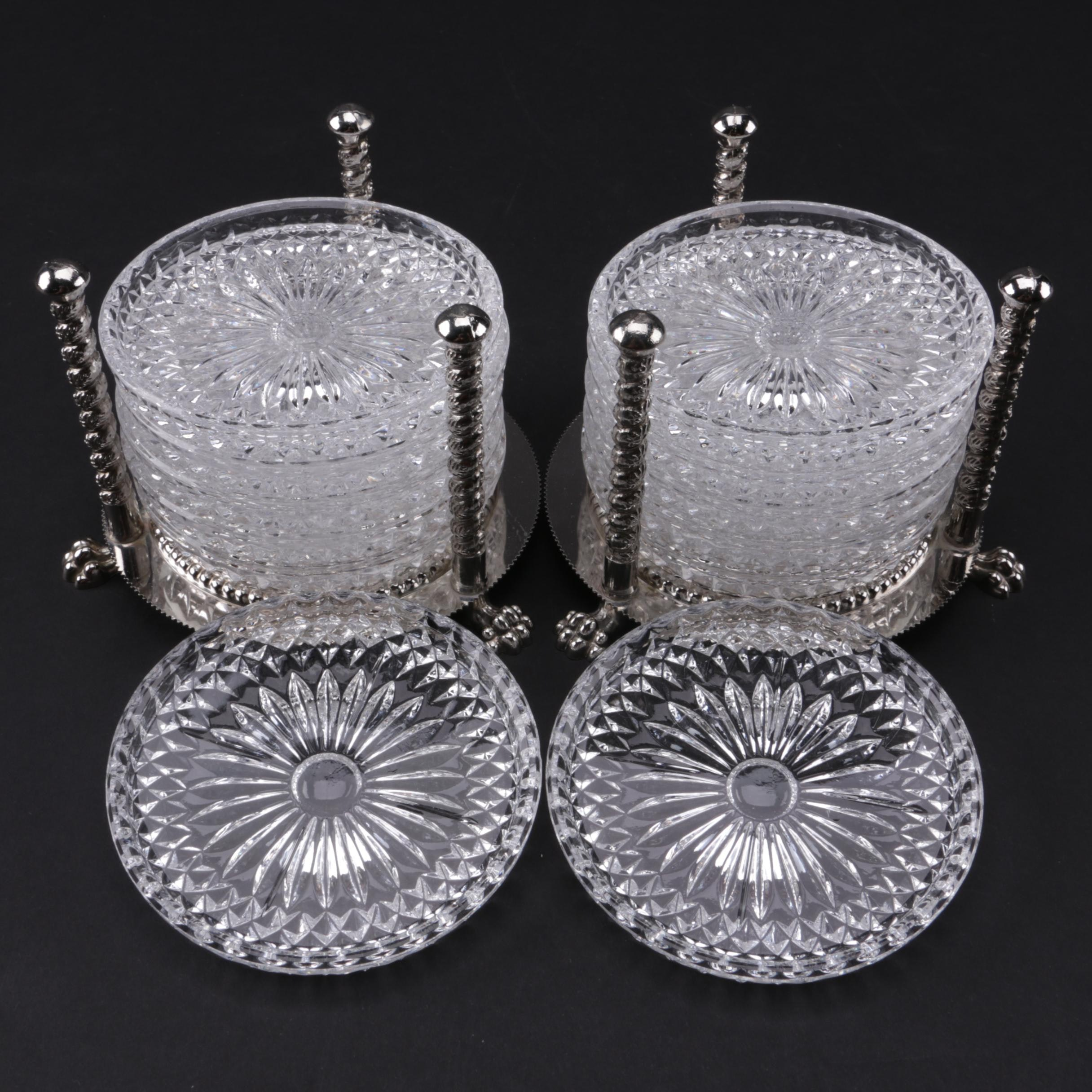Vintage F.B. Rogers Crystal Coaster Sets with Silver Plate Holders
