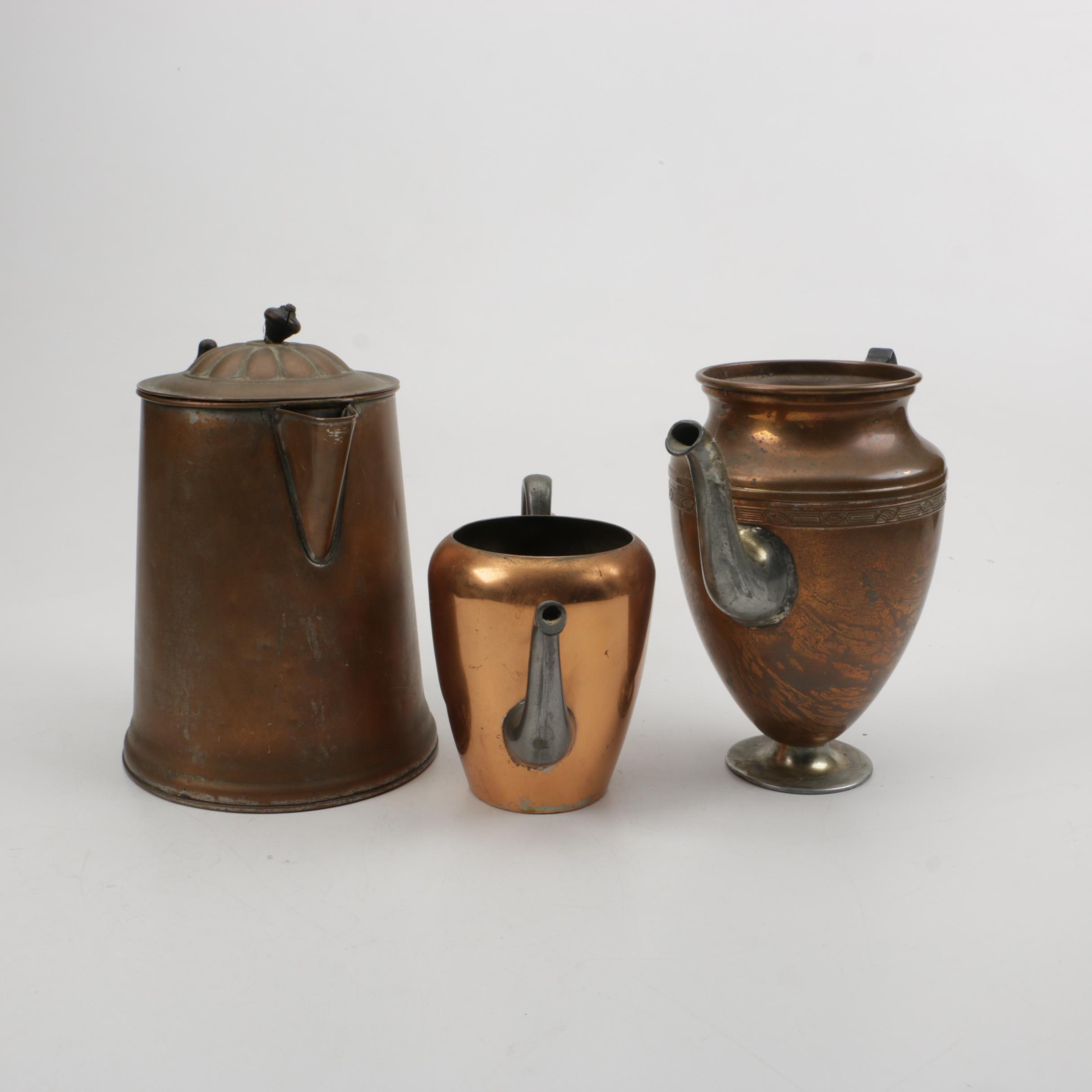 Collection of Copper and Silver Plate Coffee Pots