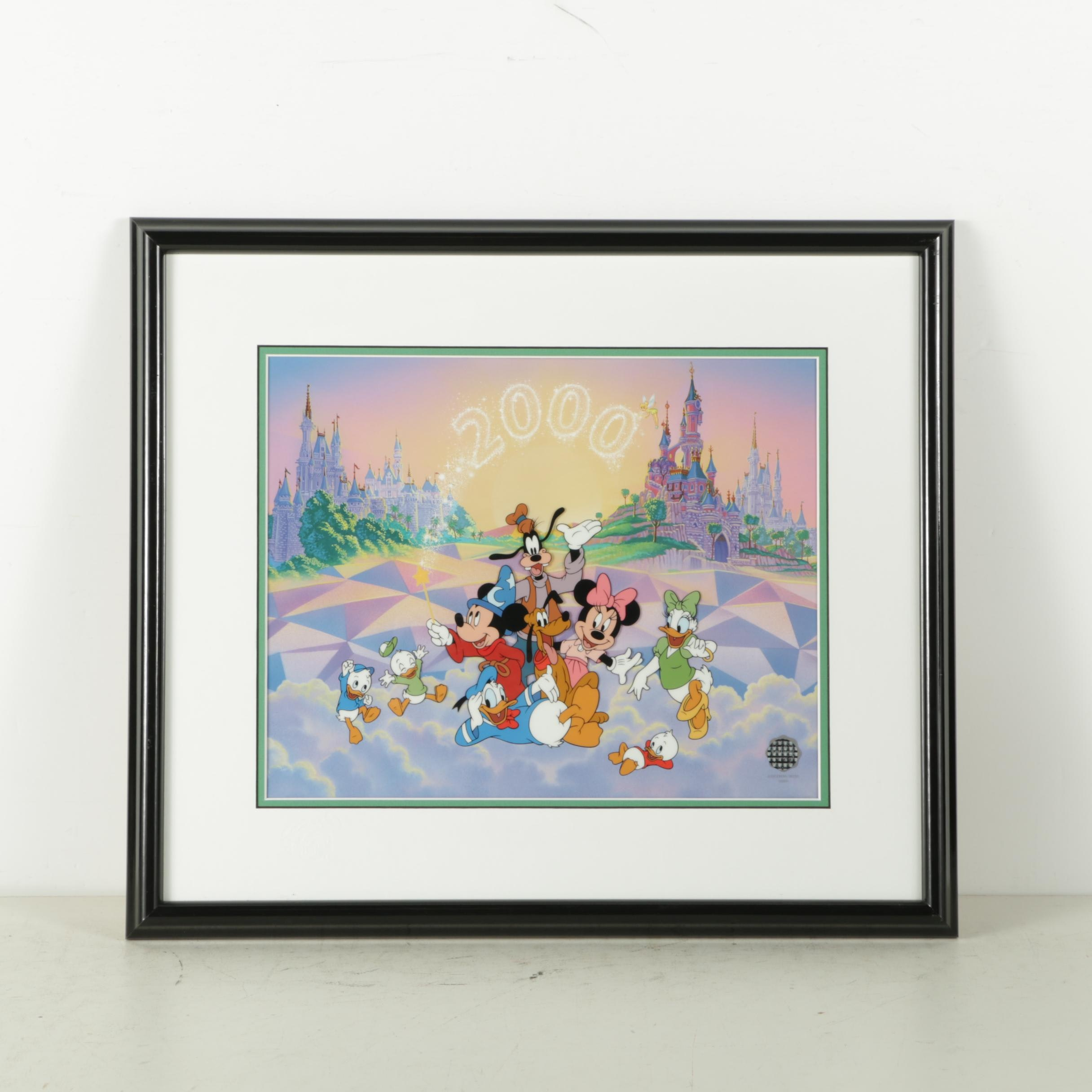 """Disney Limited Edition Sericel """"Top of the 'World' with Mickey and Friends"""""""