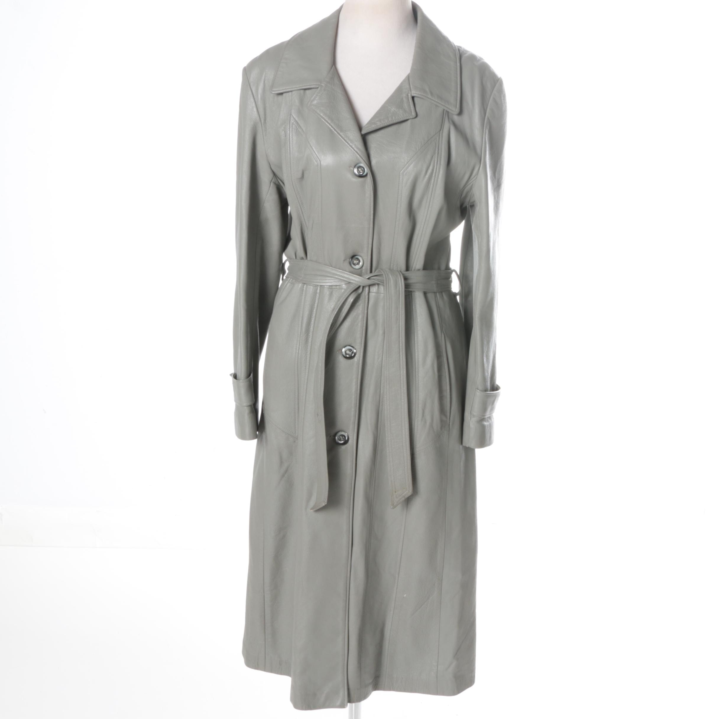 Women's Vincents Indiana Grey Leather Trench Coat