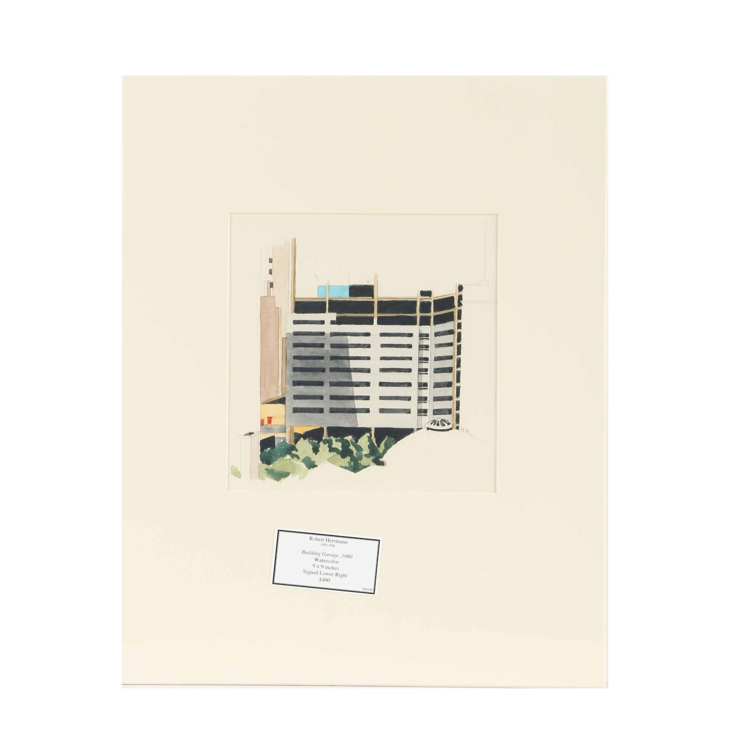 """Robert Herrmann Watercolor Painting on Paper """"Building Garage"""""""
