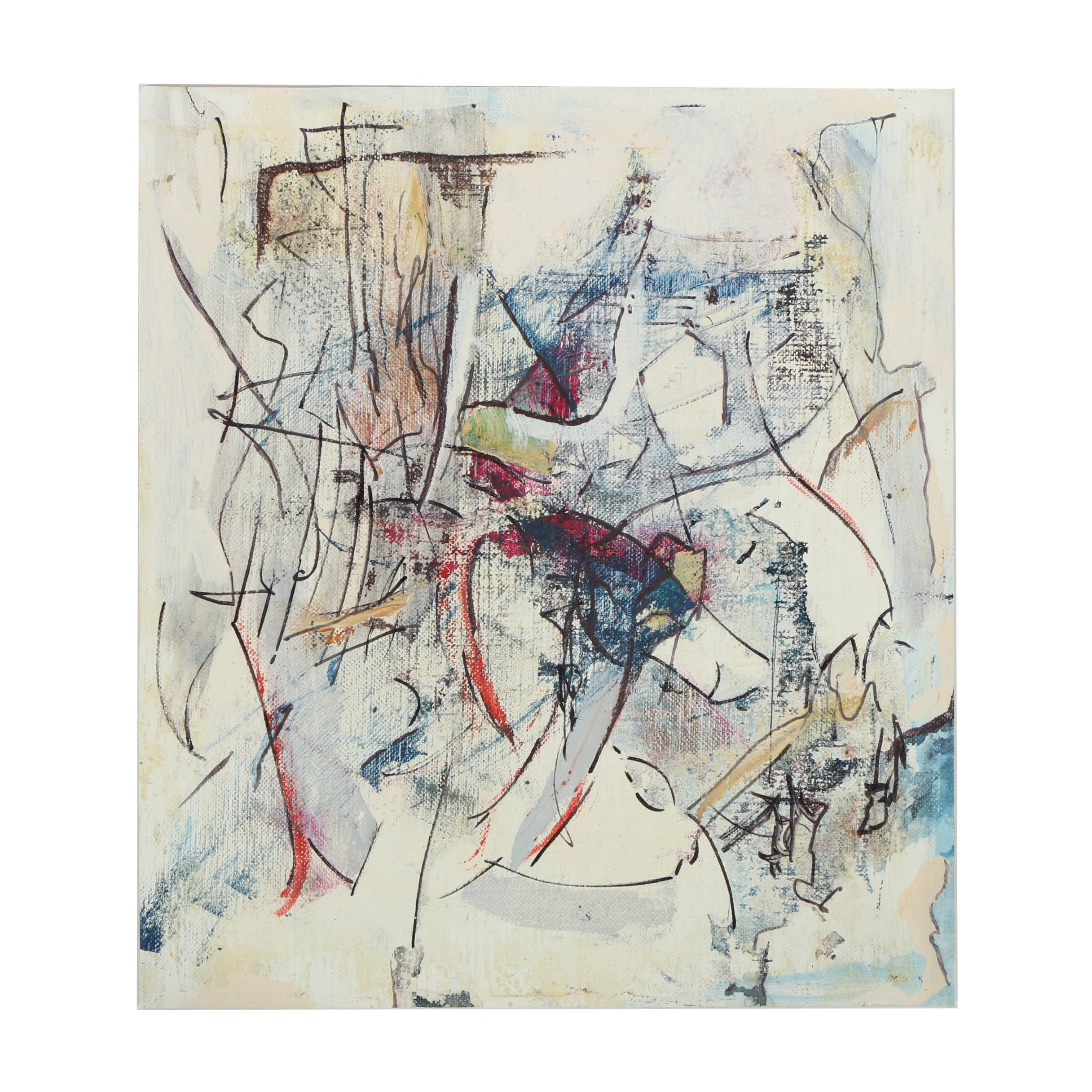 Ricardo Morin Oil Painting on Unstretched Linen Abstract Scene