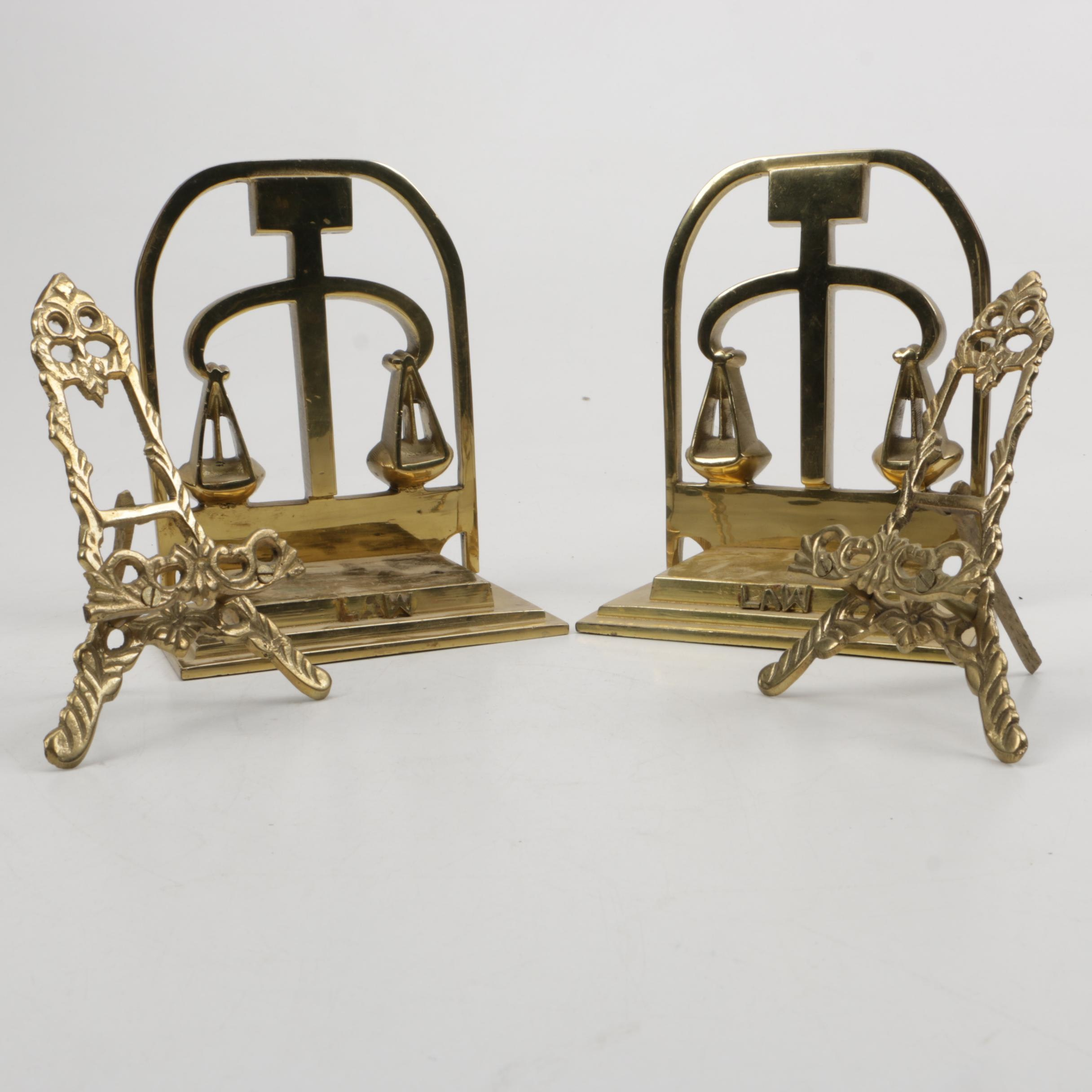 Brass Book Ends with a Pair of Table Easels