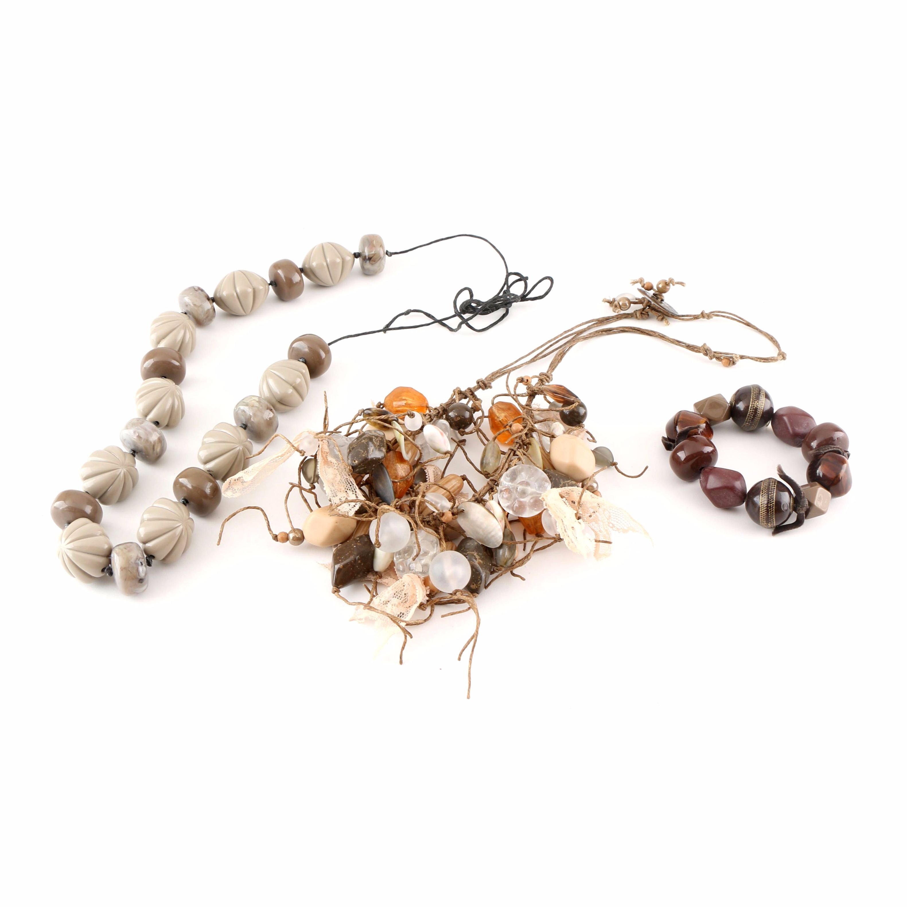 Handcrafted Earth-Tone Beaded Jewelry Including a Bracelet by Teresa Goodall