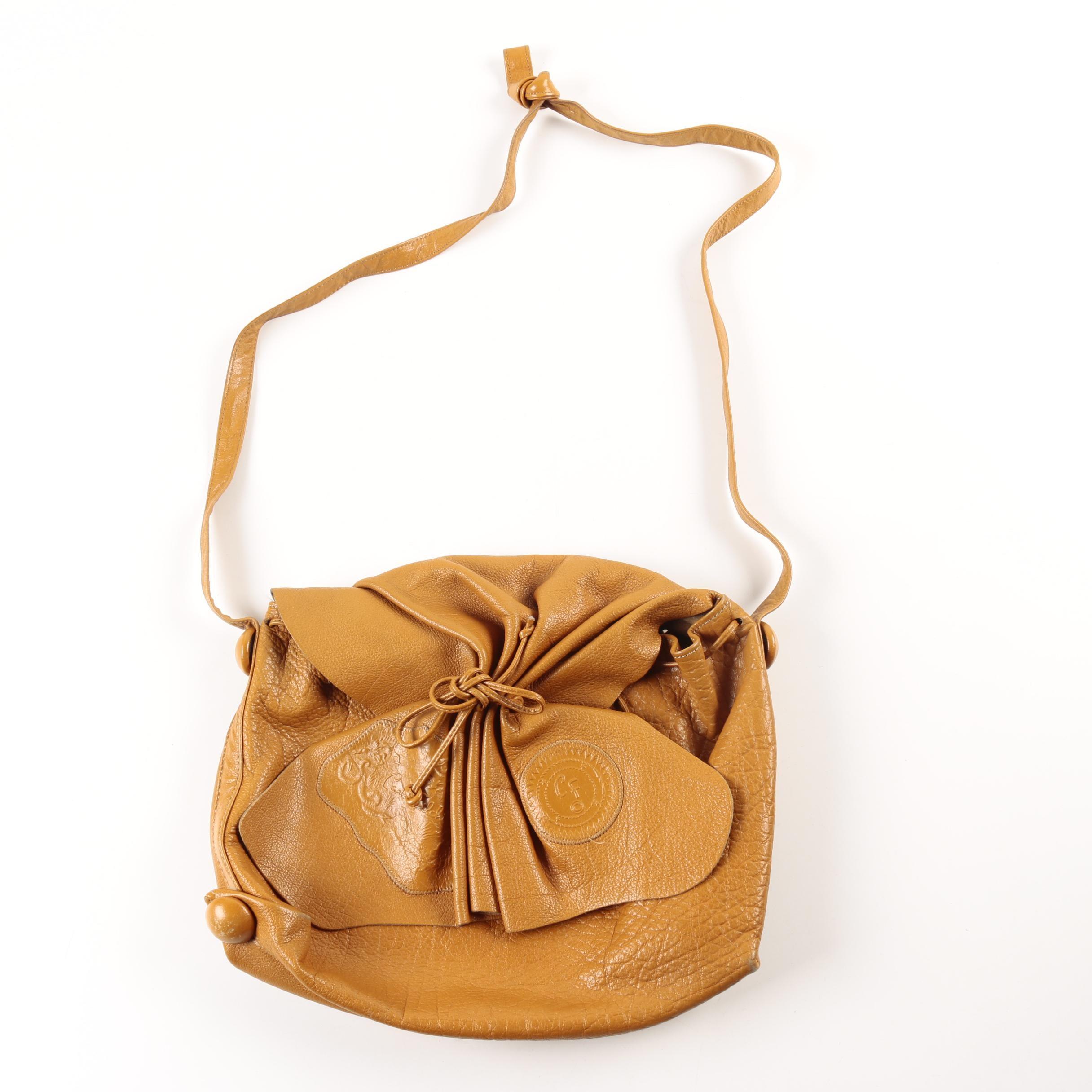 Carlos Falchi Cognac Brown Leather Handbag