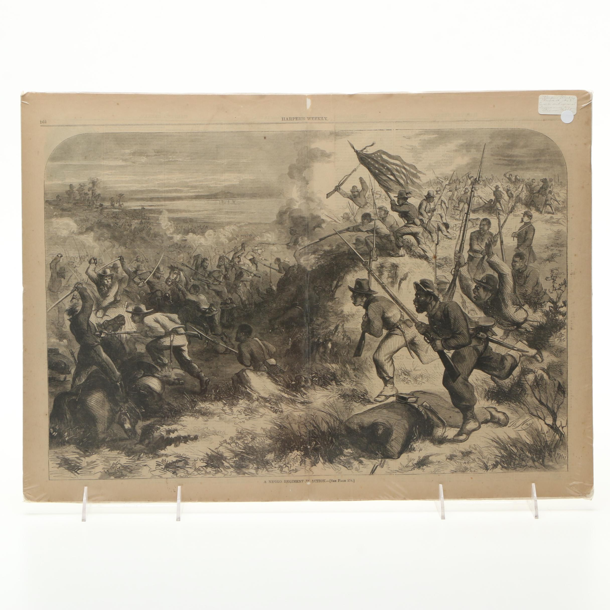 """1863 Harper's Weekly Engraving After T. Nast """"A Negro Regiment in Action"""""""