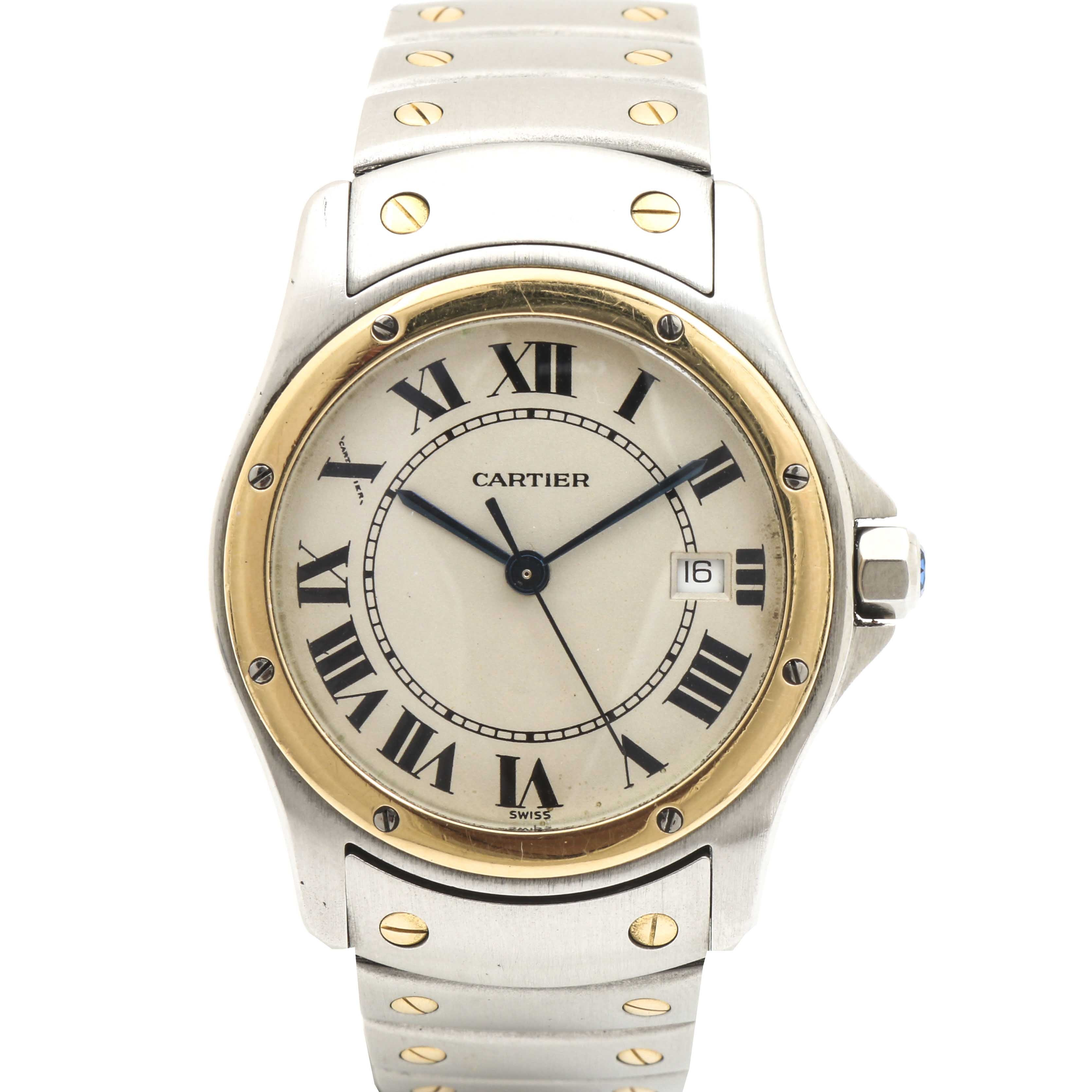 """Cartier """"Santos Ronde"""" 18K Yellow Gold and Stainless Steel Analog Wristwatch"""